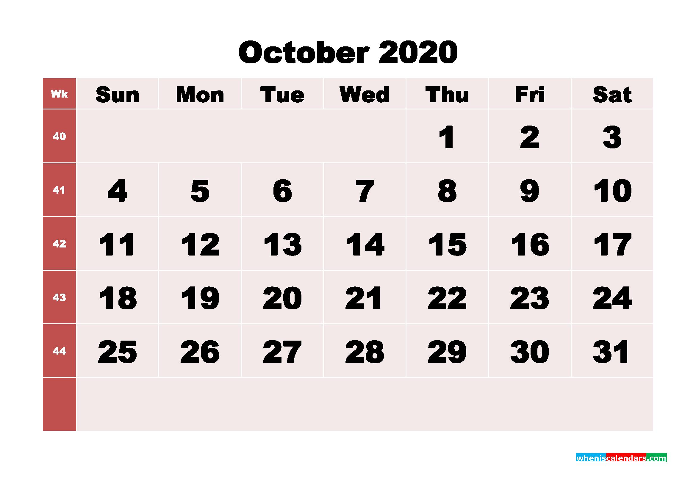 Free Printable October 2020 Calendar - No.m20b250