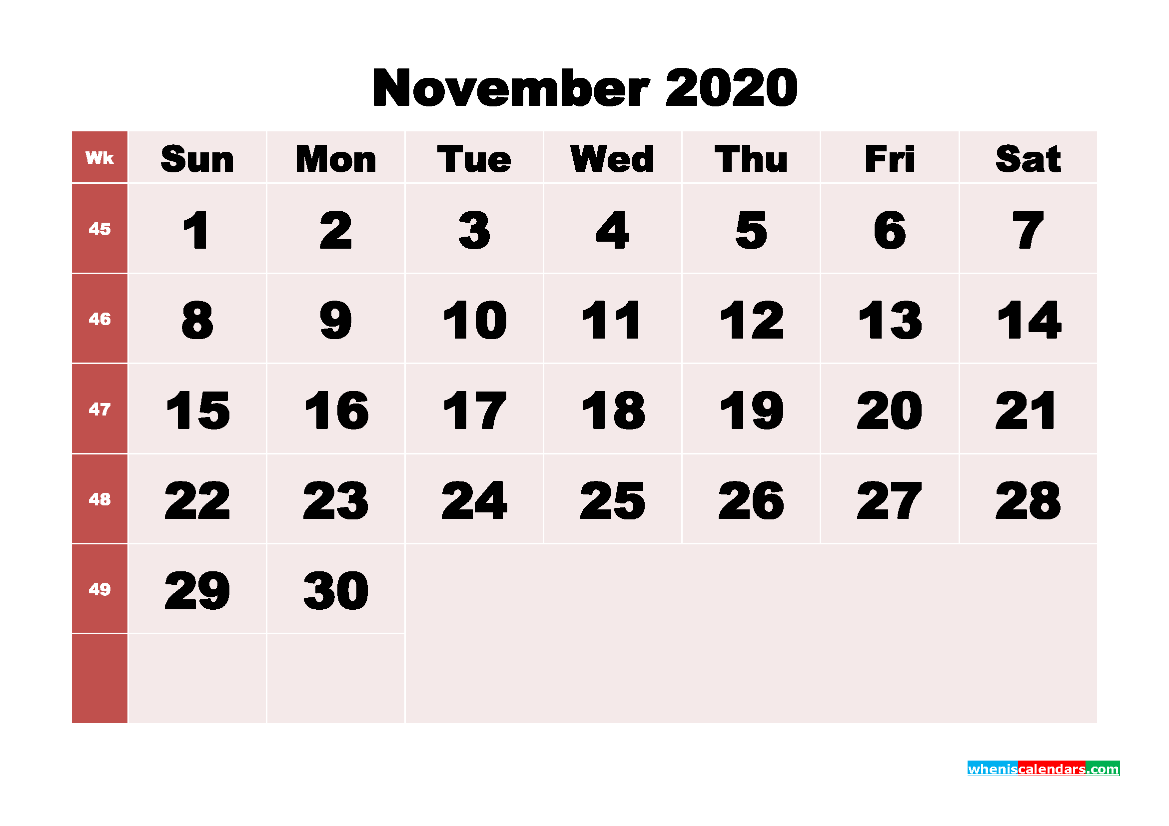 November Blank Calendar 2020 Printable Word, PDF, PNG