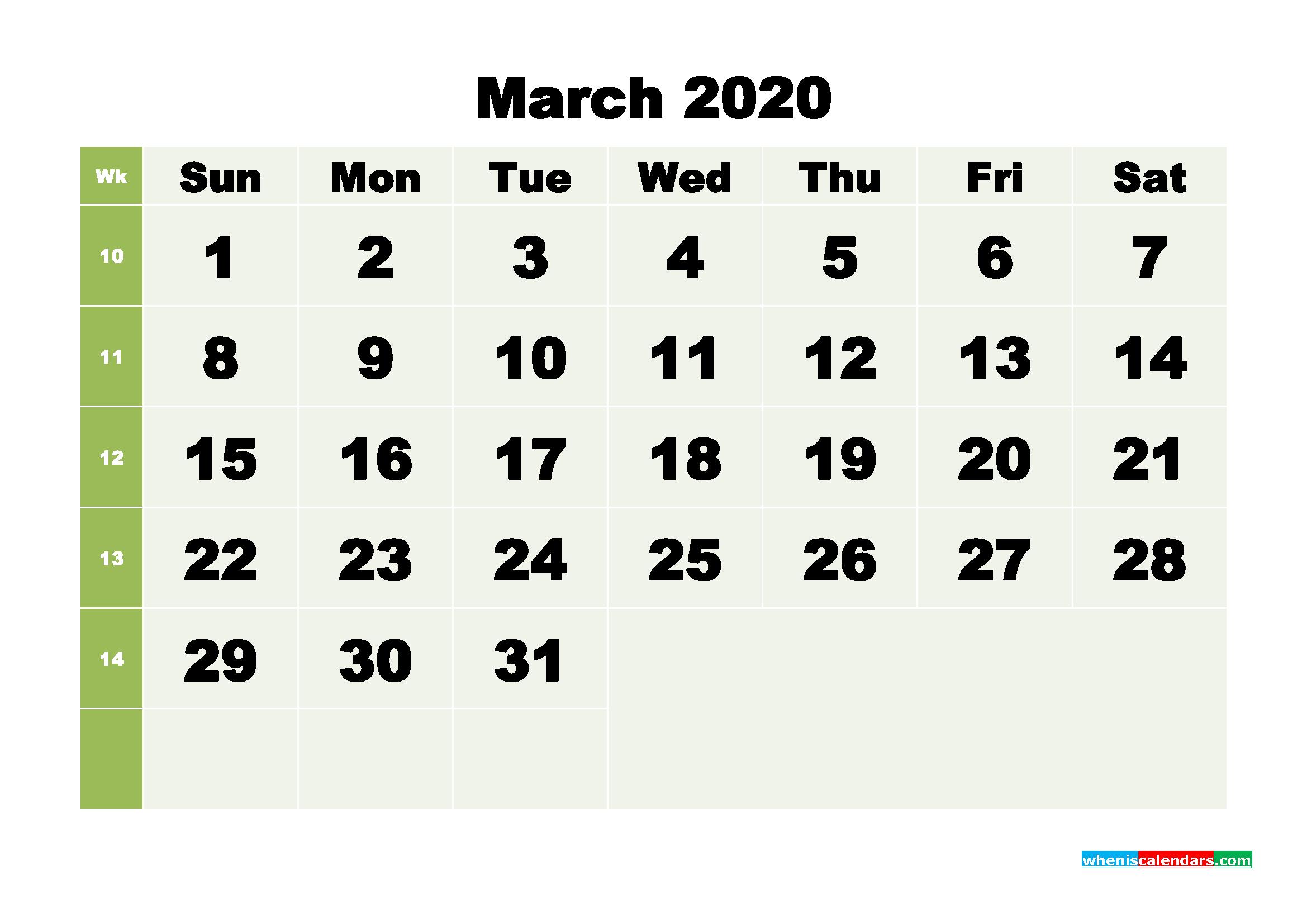 Free Blank Calendar March 2020 Printable - No.m20b255