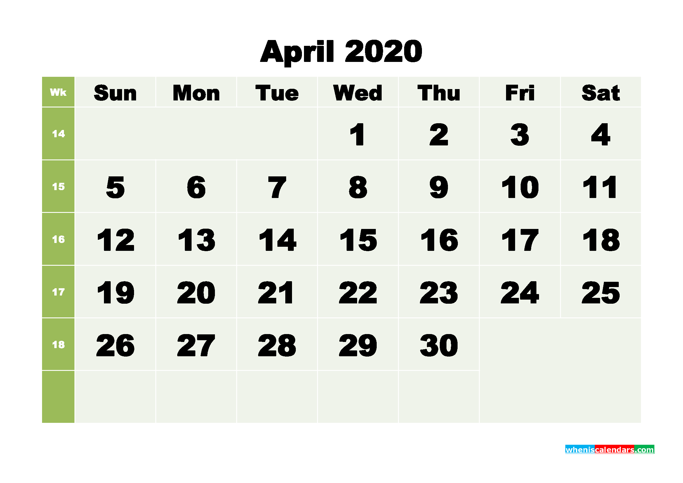 Free Blank Calendar April 2020 Printable - No.m20b256
