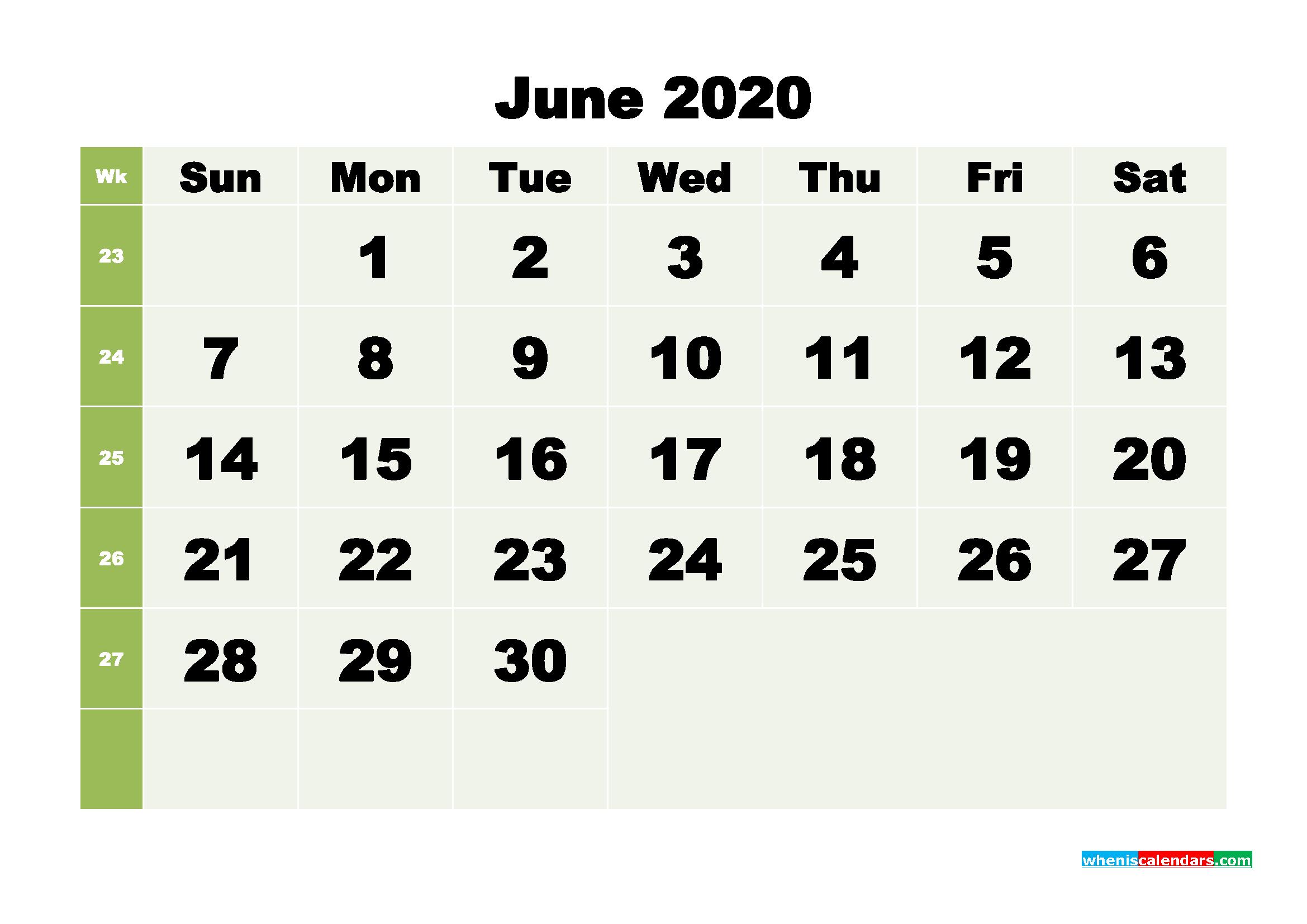 Free Blank Calendar June 2020 Printable - No.m20b258