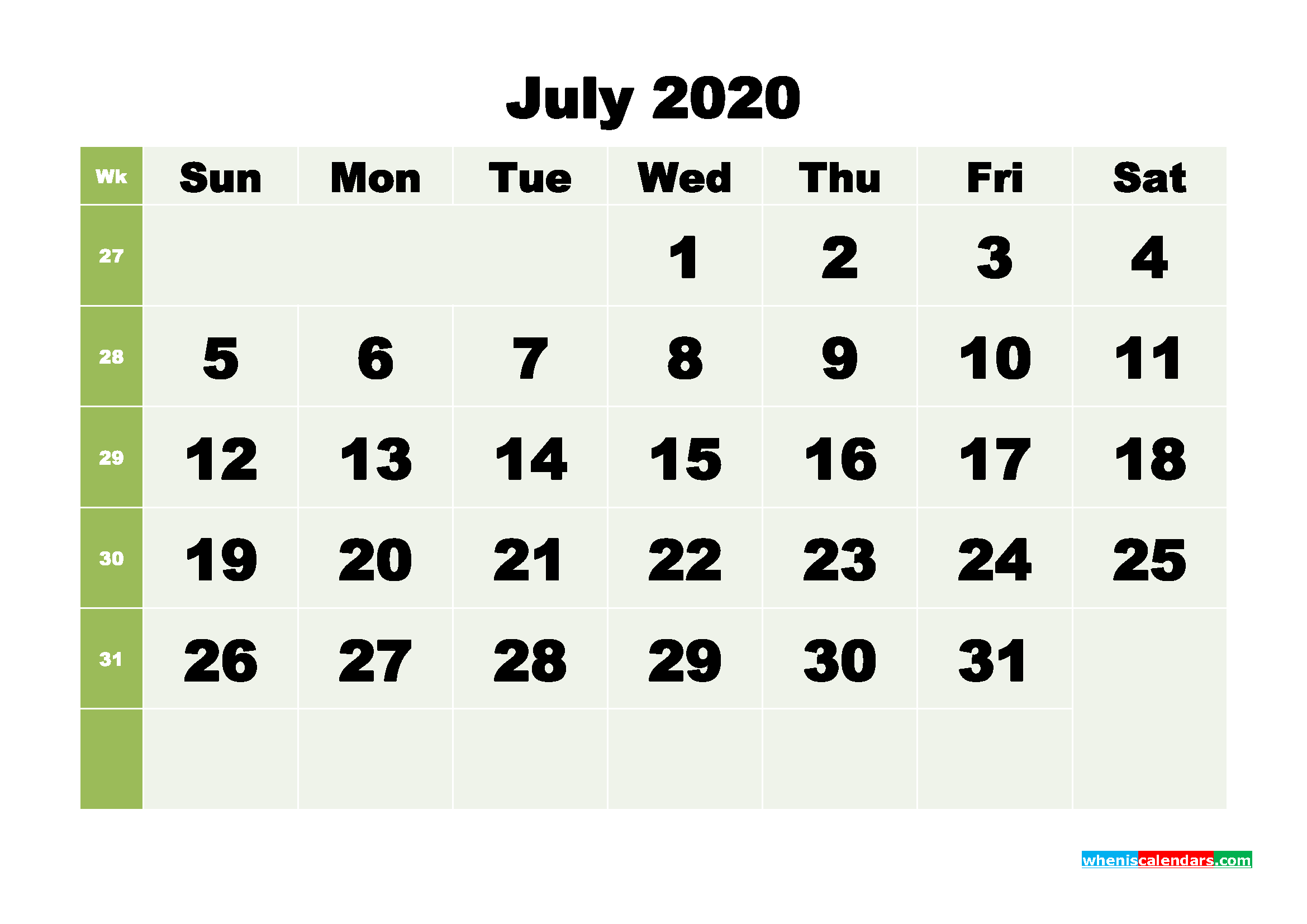 Free Blank Calendar July 2020 Printable - No.m20b259