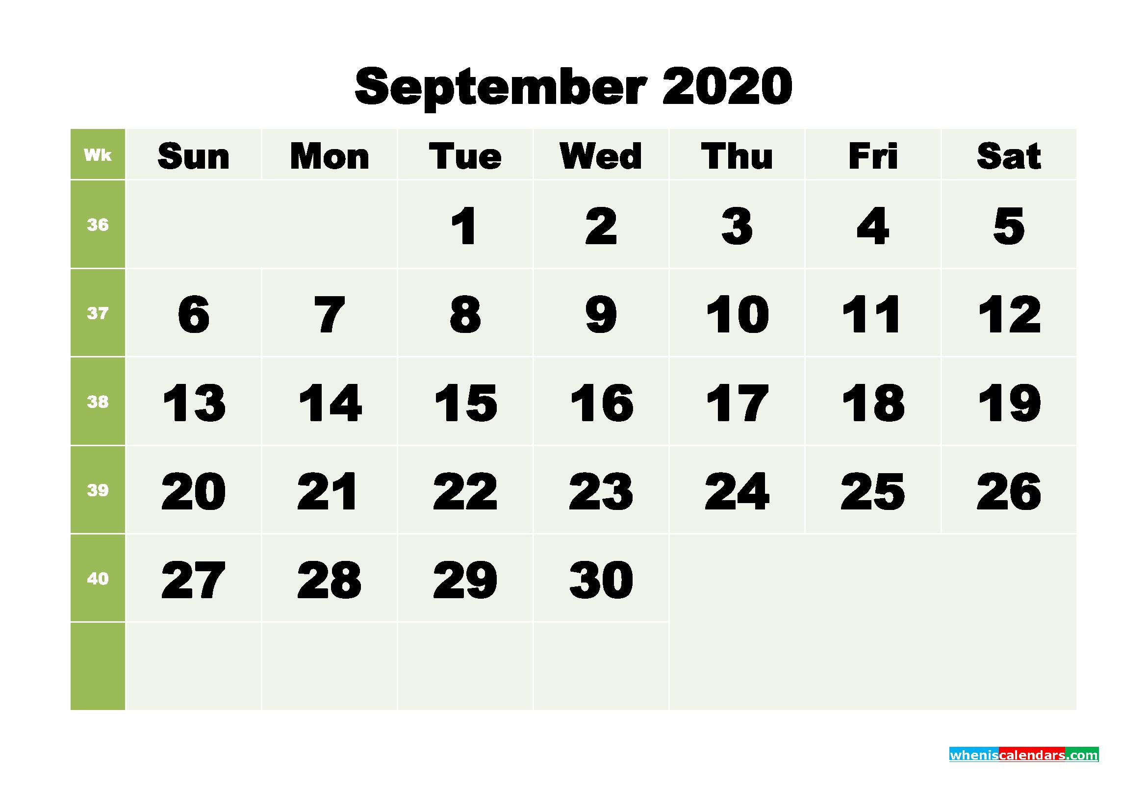 Free Blank Calendar September 2020 Printable - No.m20b261