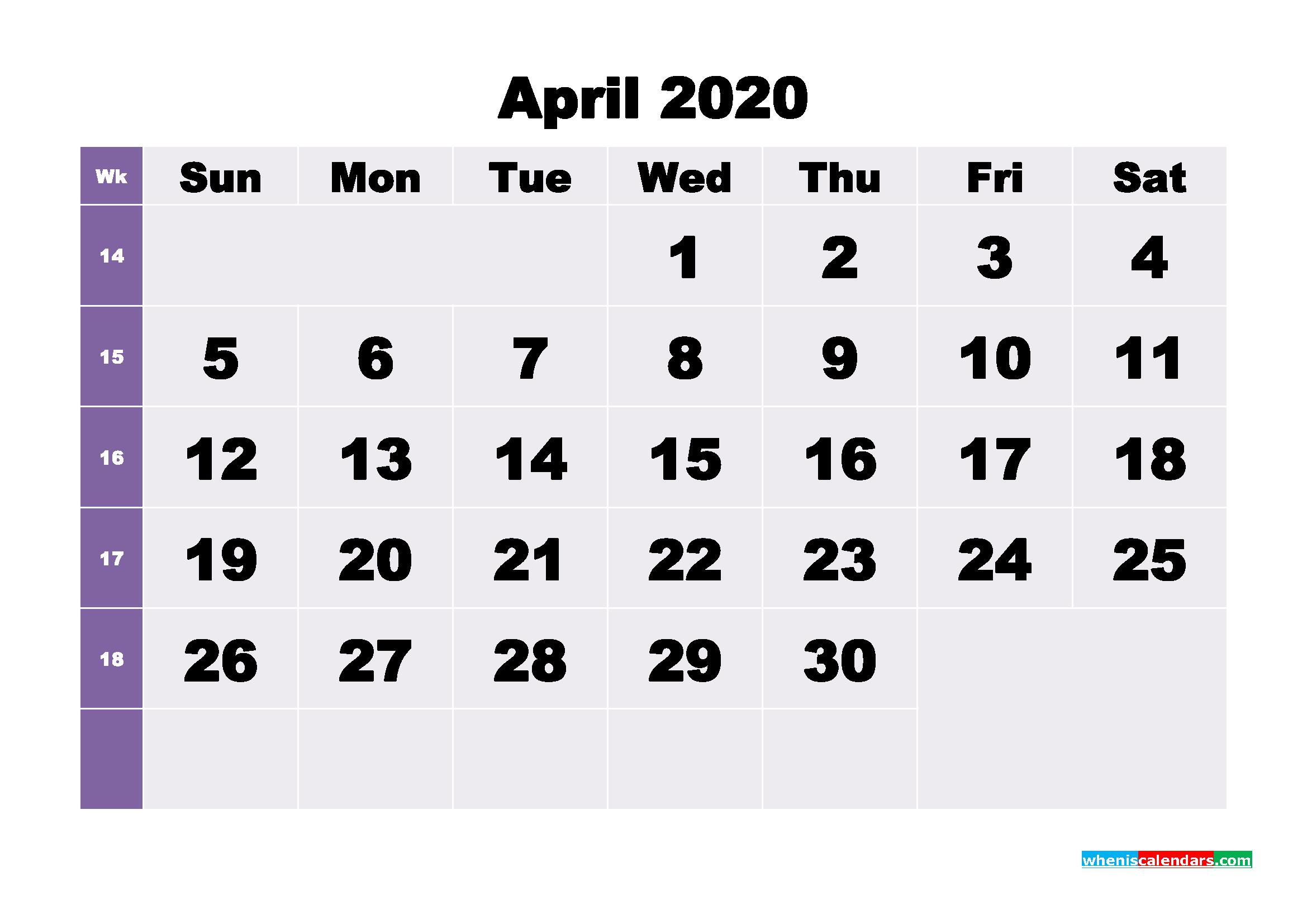Blank April 2020 Calendar Printable - No.m20b268