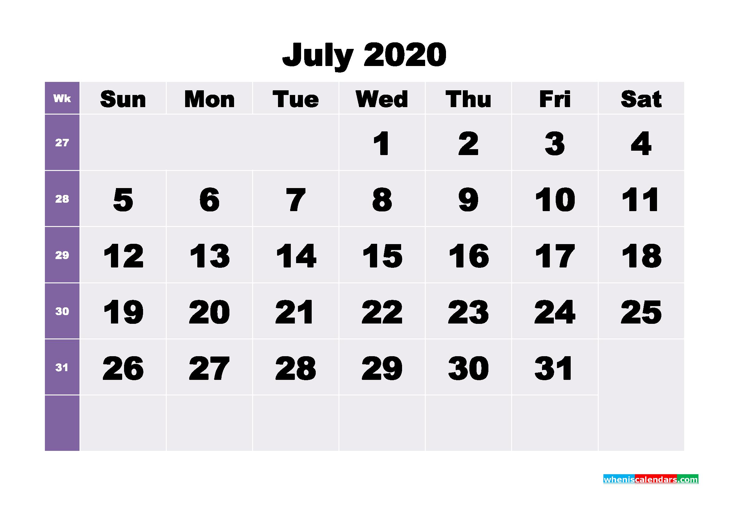 Blank July 2020 Calendar Printable - No.m20b271