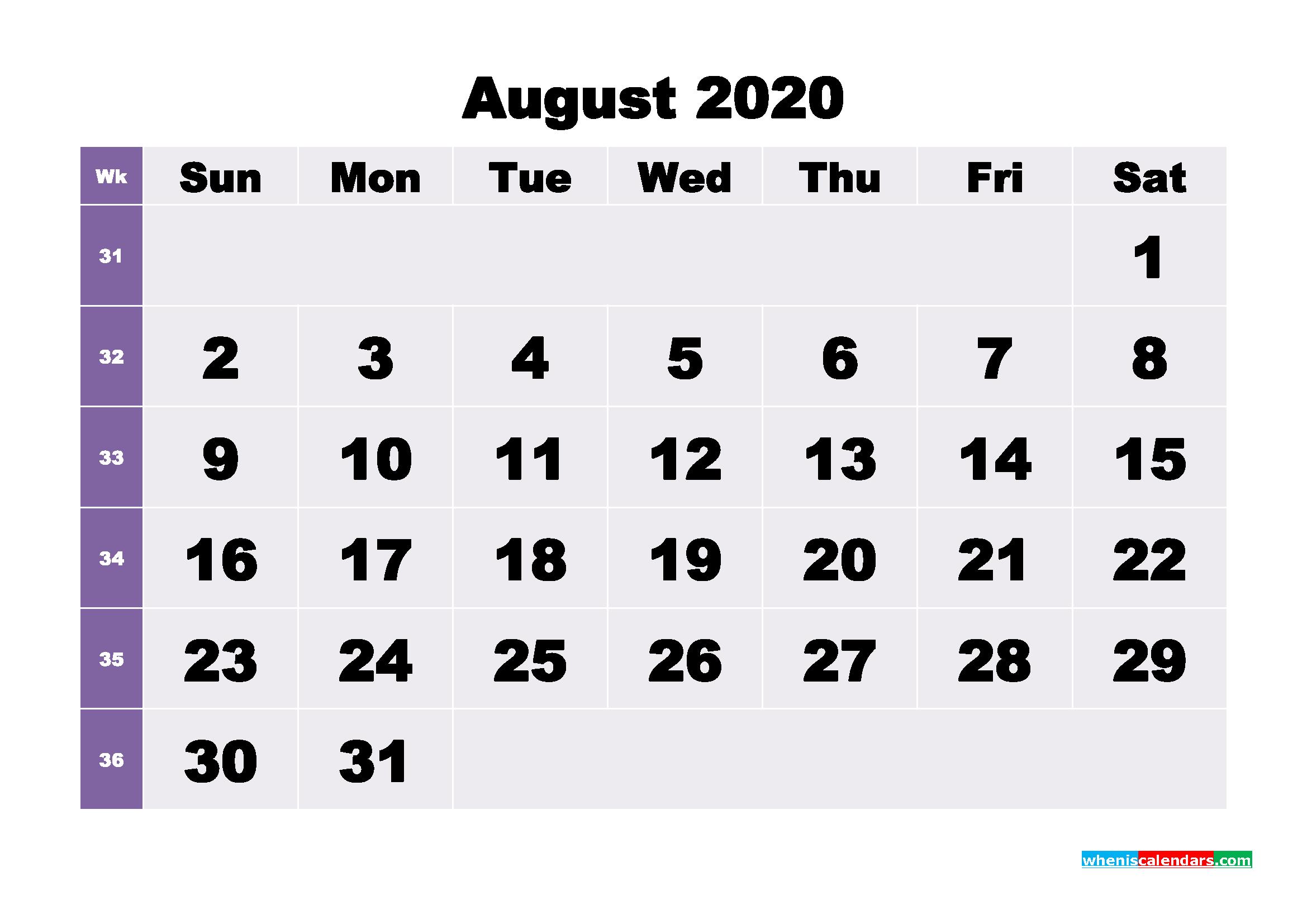 Blank August 2020 Calendar Printable - No.m20b272