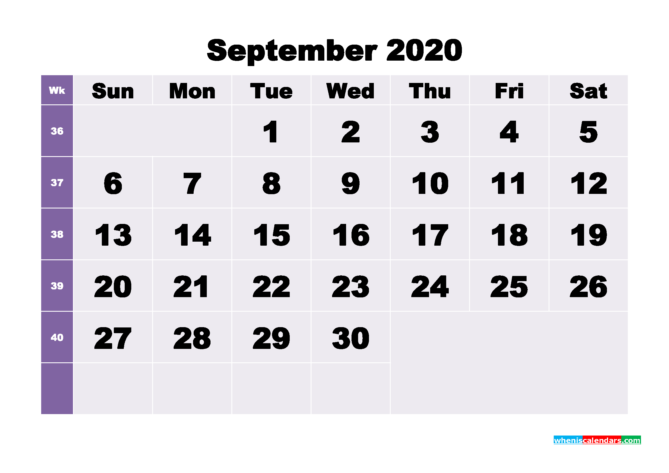 Blank September 2020 Calendar Printable - No.m20b273