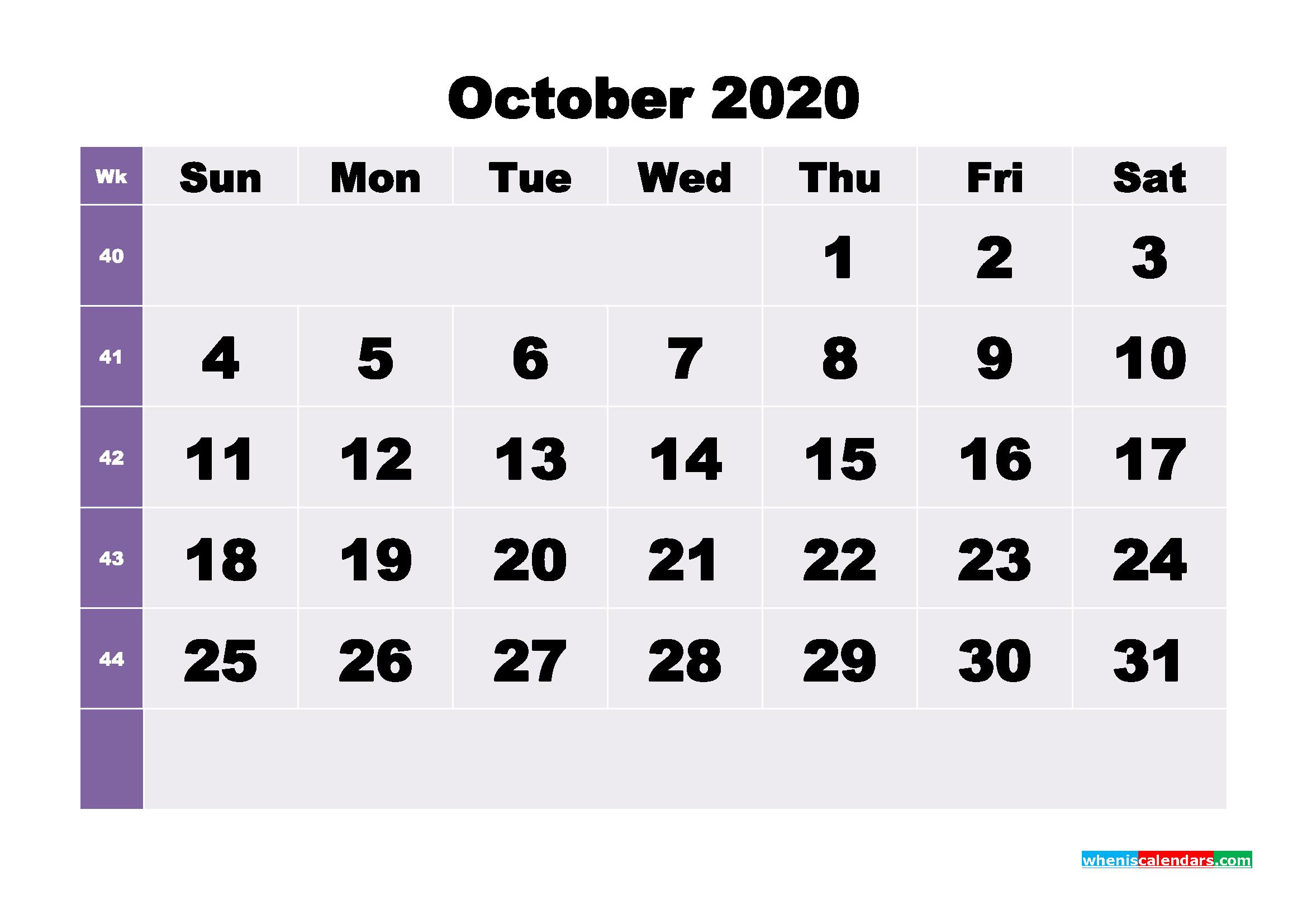 Blank October 2020 Calendar Printable - No.m20b274