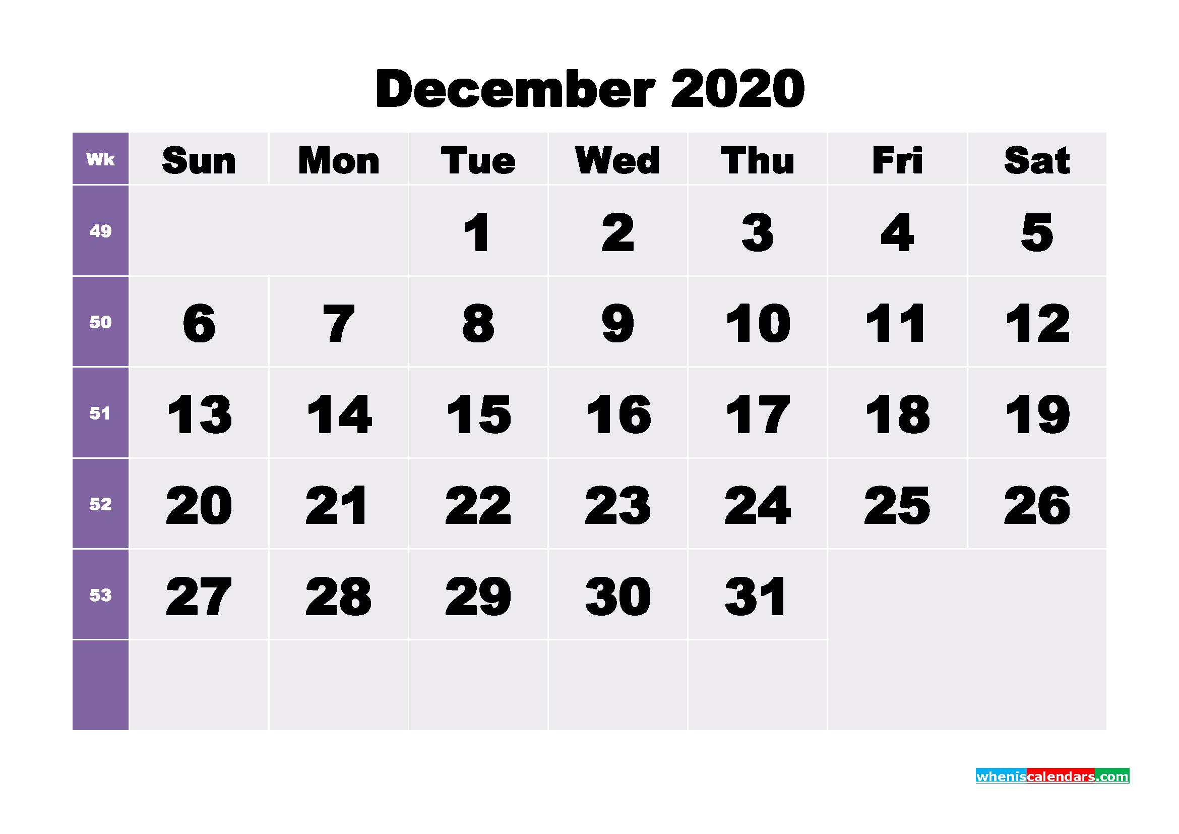 Blank December 2020 Calendar Printable - No.m20b276