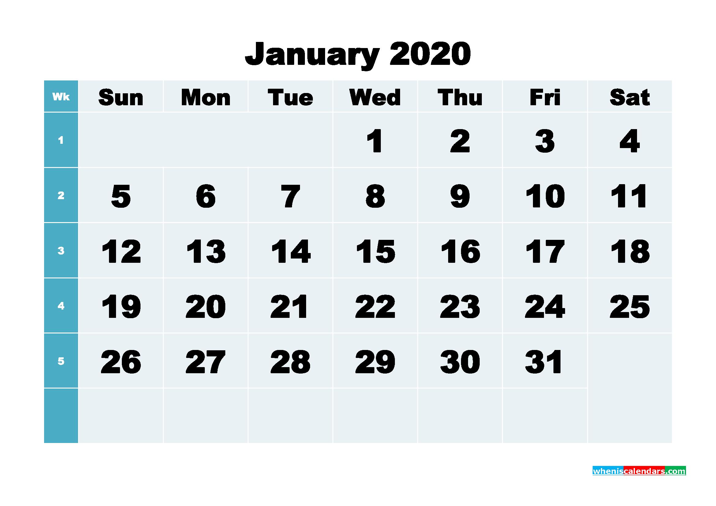 January 2020 Blank Calendar Printable - No.m20b277