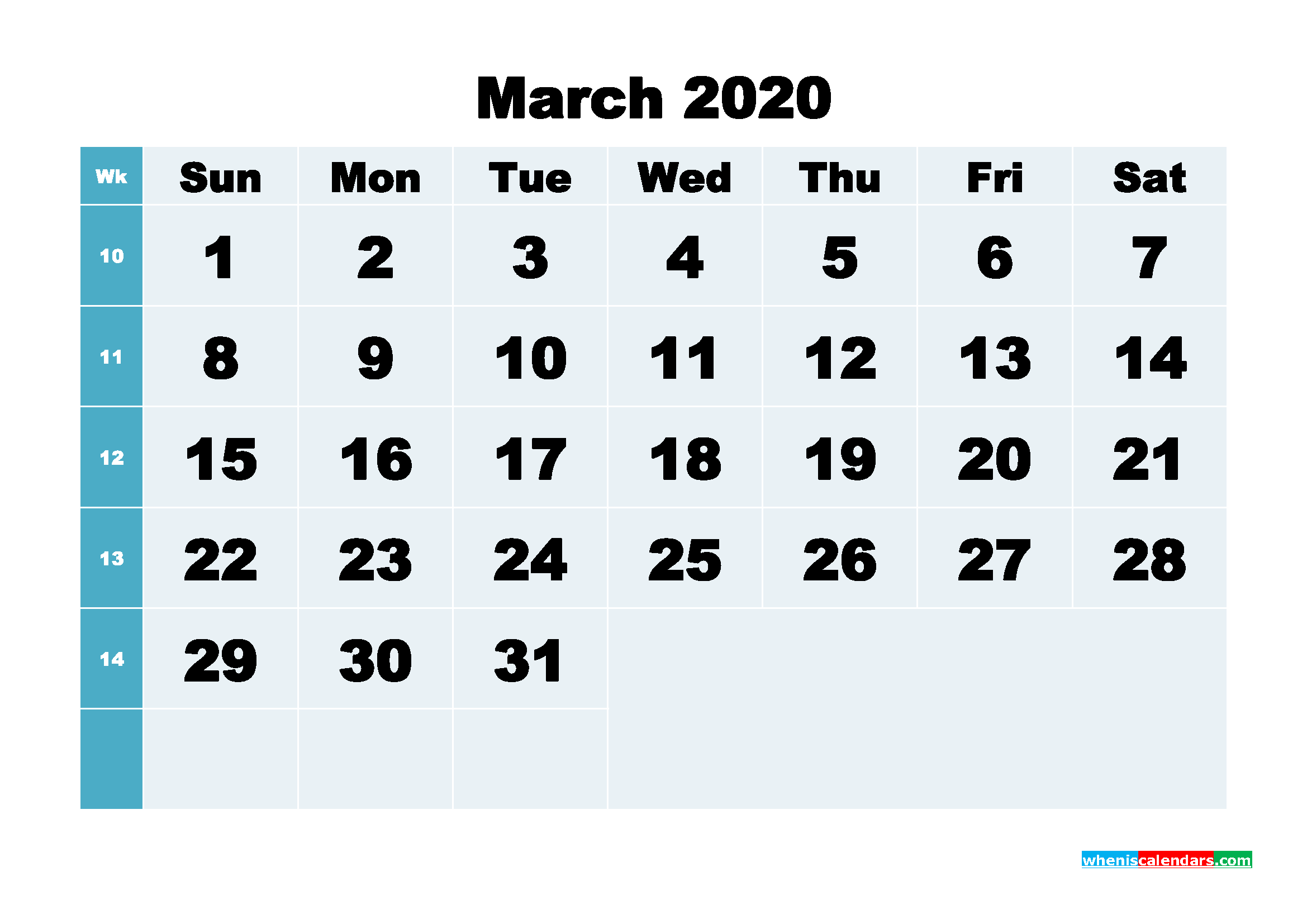 Blank March Calendar 2020 Printable Landscape Layout