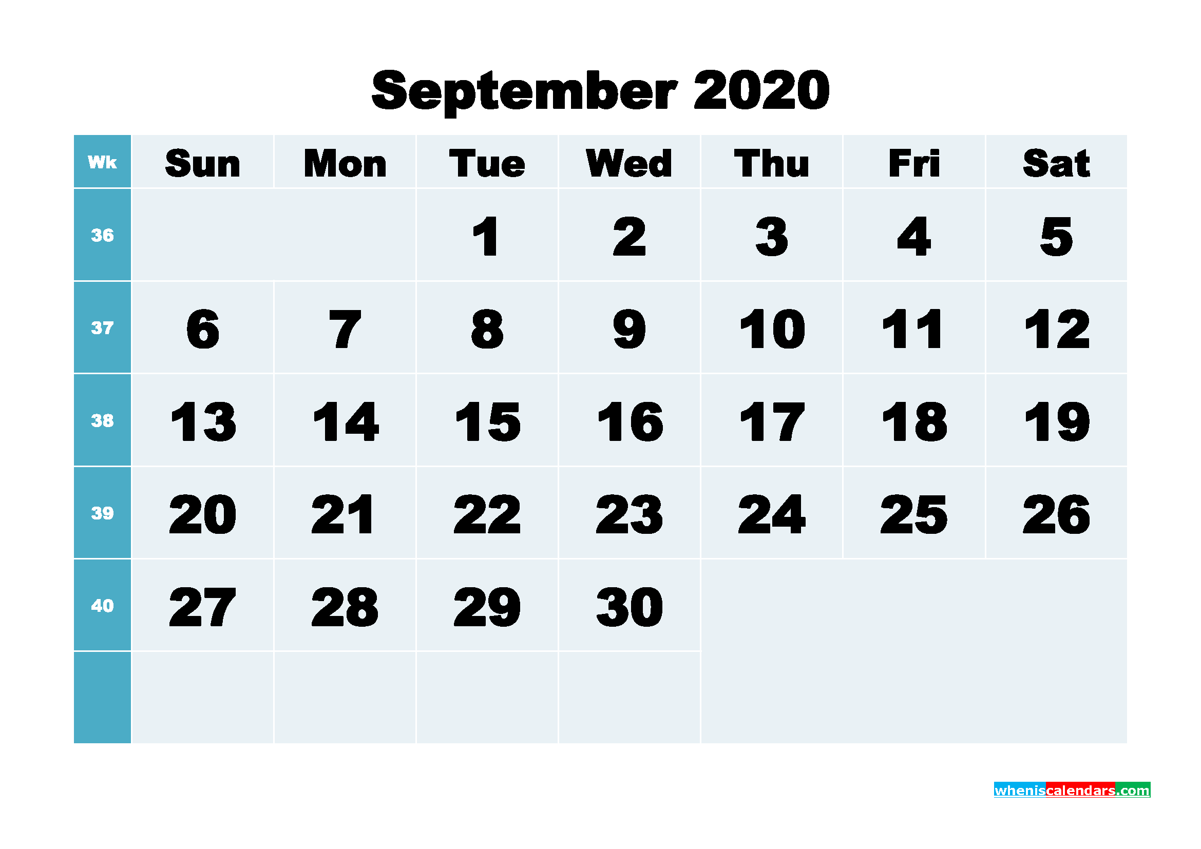 September 2020 Blank Calendar Printable - No.m20b285