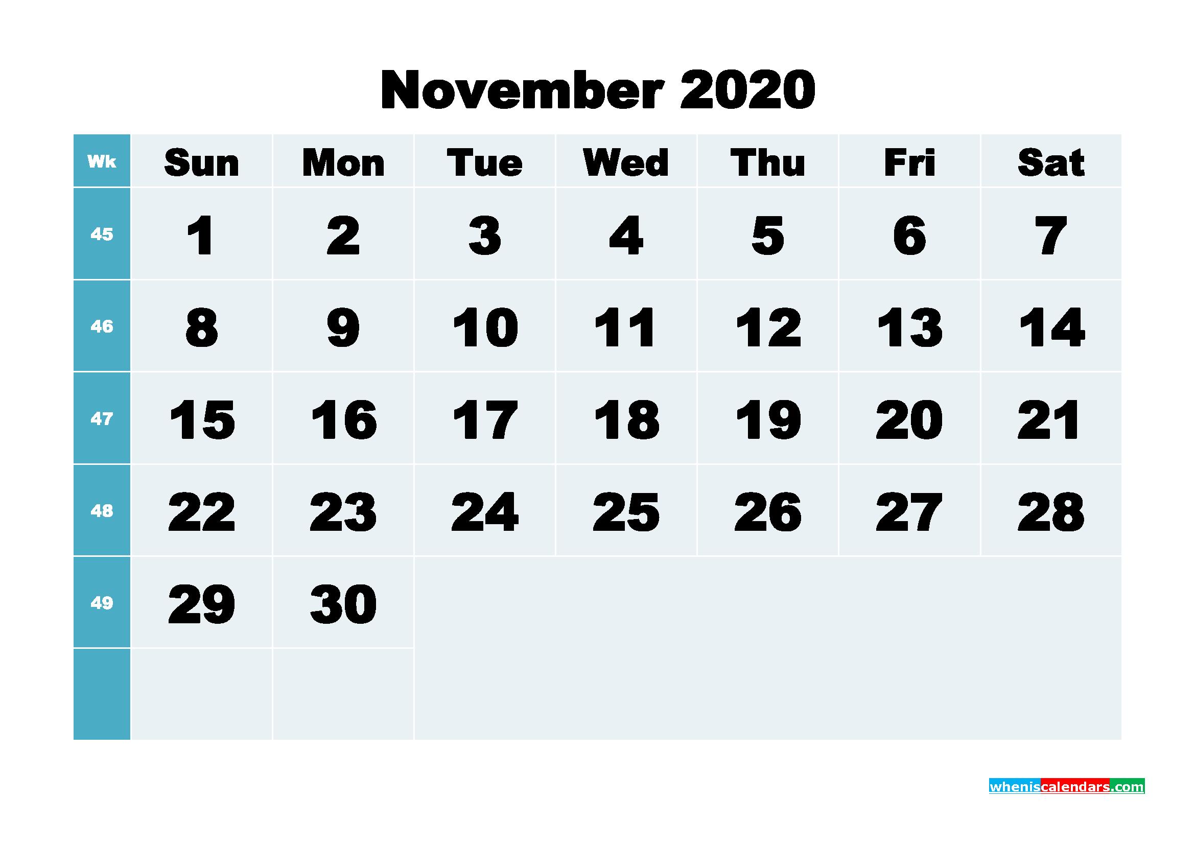 November 2020 Blank Calendar Printable - No.m20b287