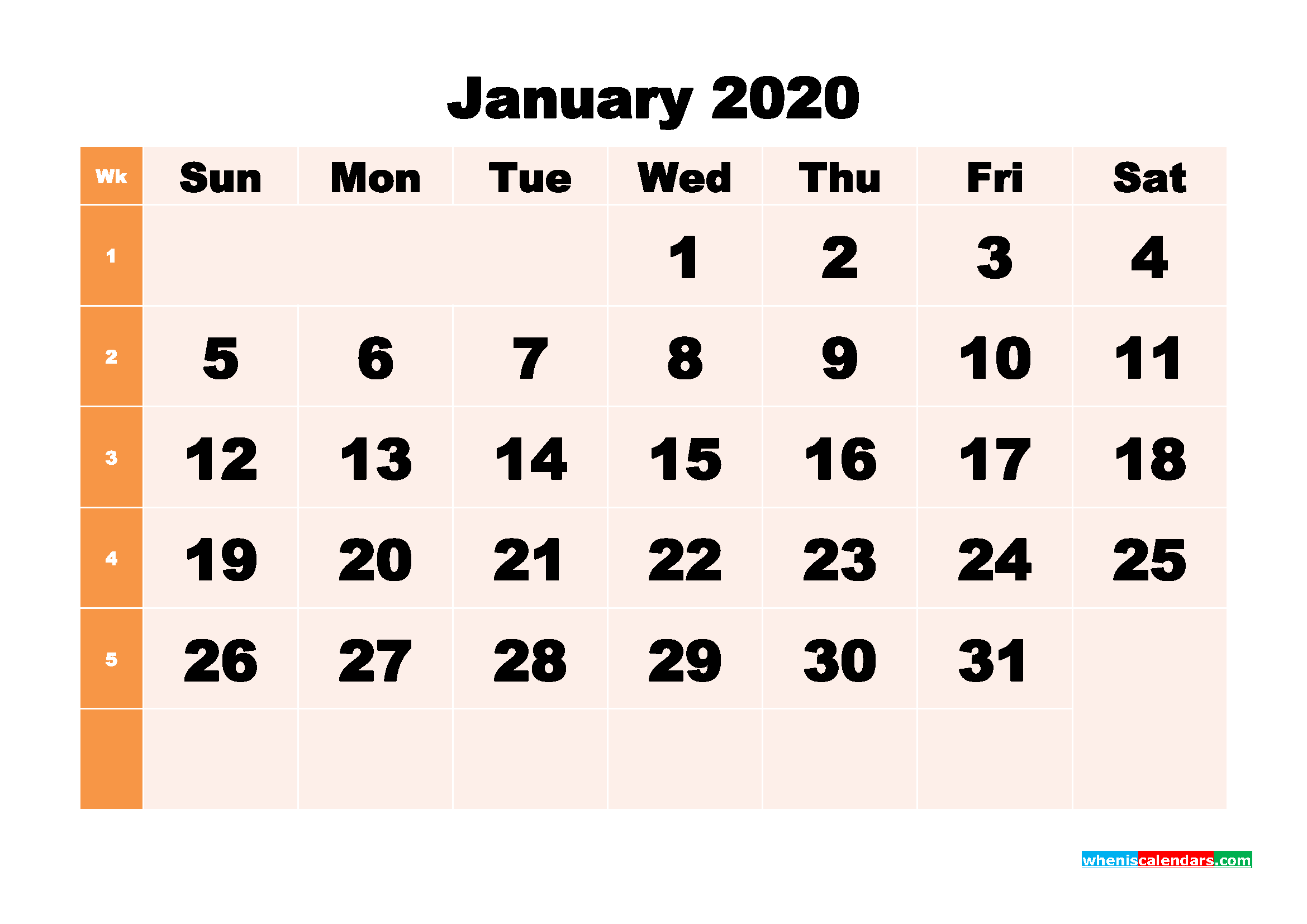 Free Printable Calendar January 2020 PDF, Word - No.m20b289