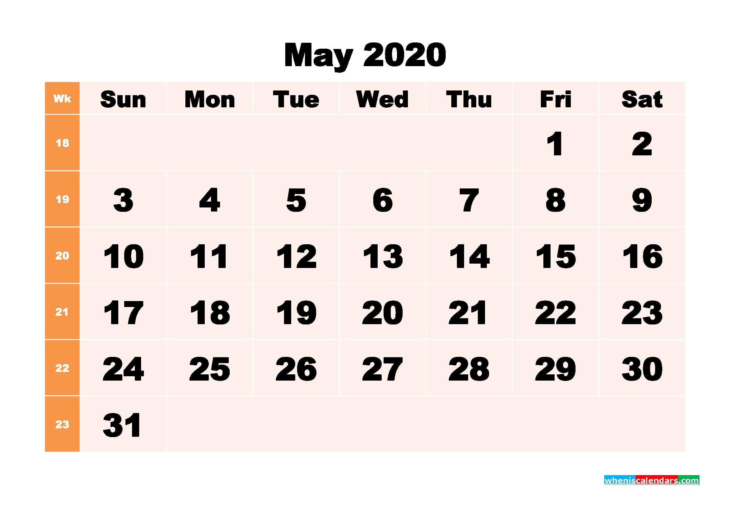 Free Printable Calendar May 2020 PDF, Word - No.m20b293