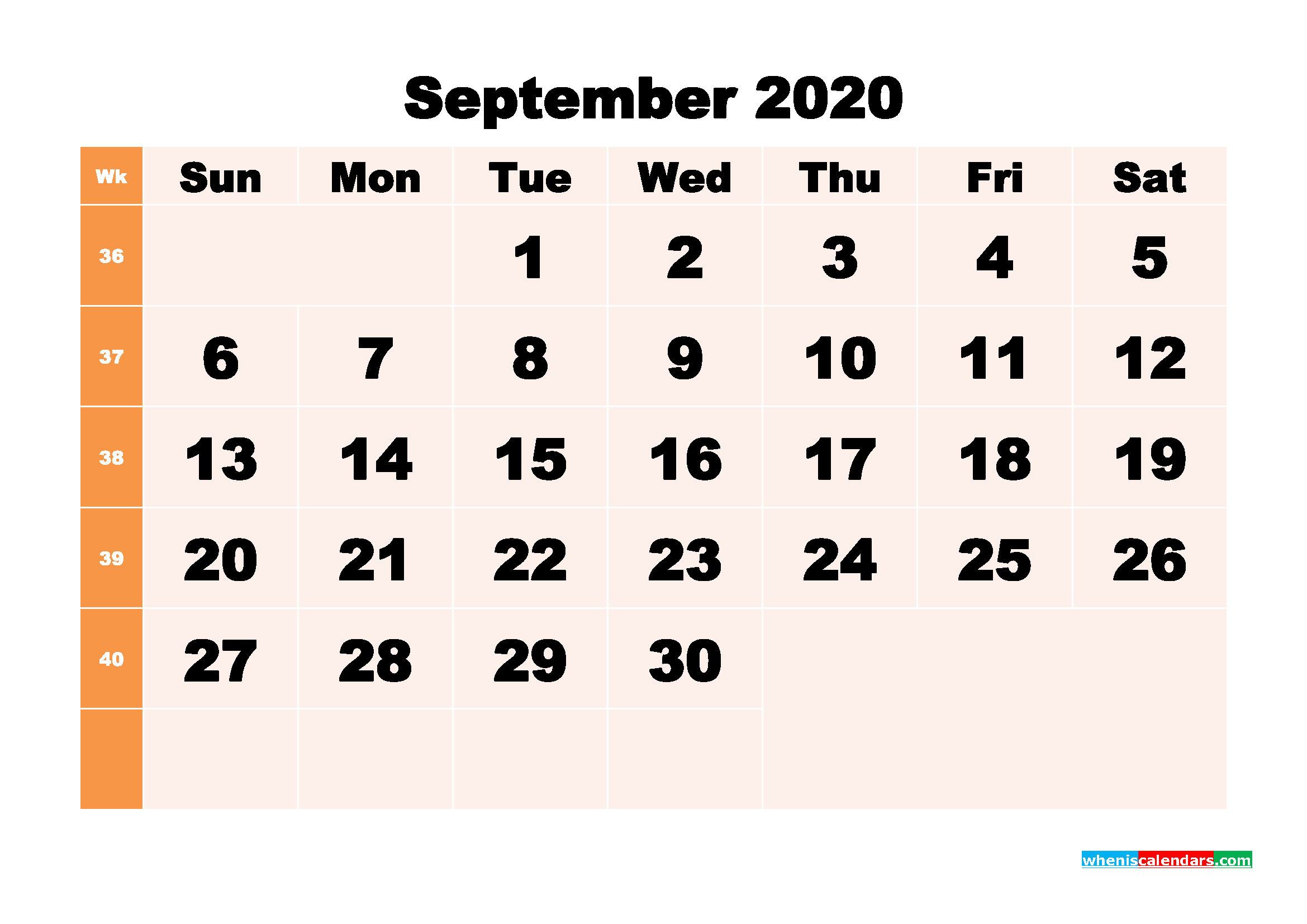 Free Printable Calendar September 2020 PDF, Word - No.m20b297