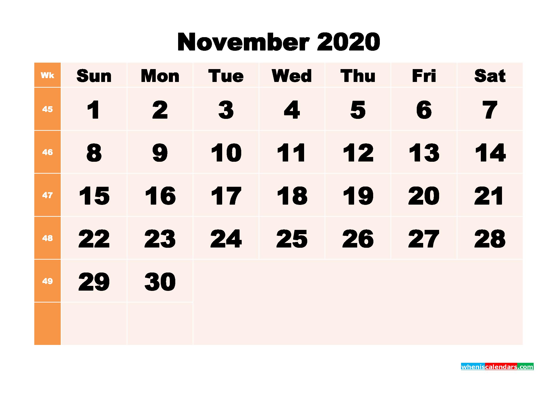 Free Printable Calendar November 2020 PDF, Word - No.m20b299
