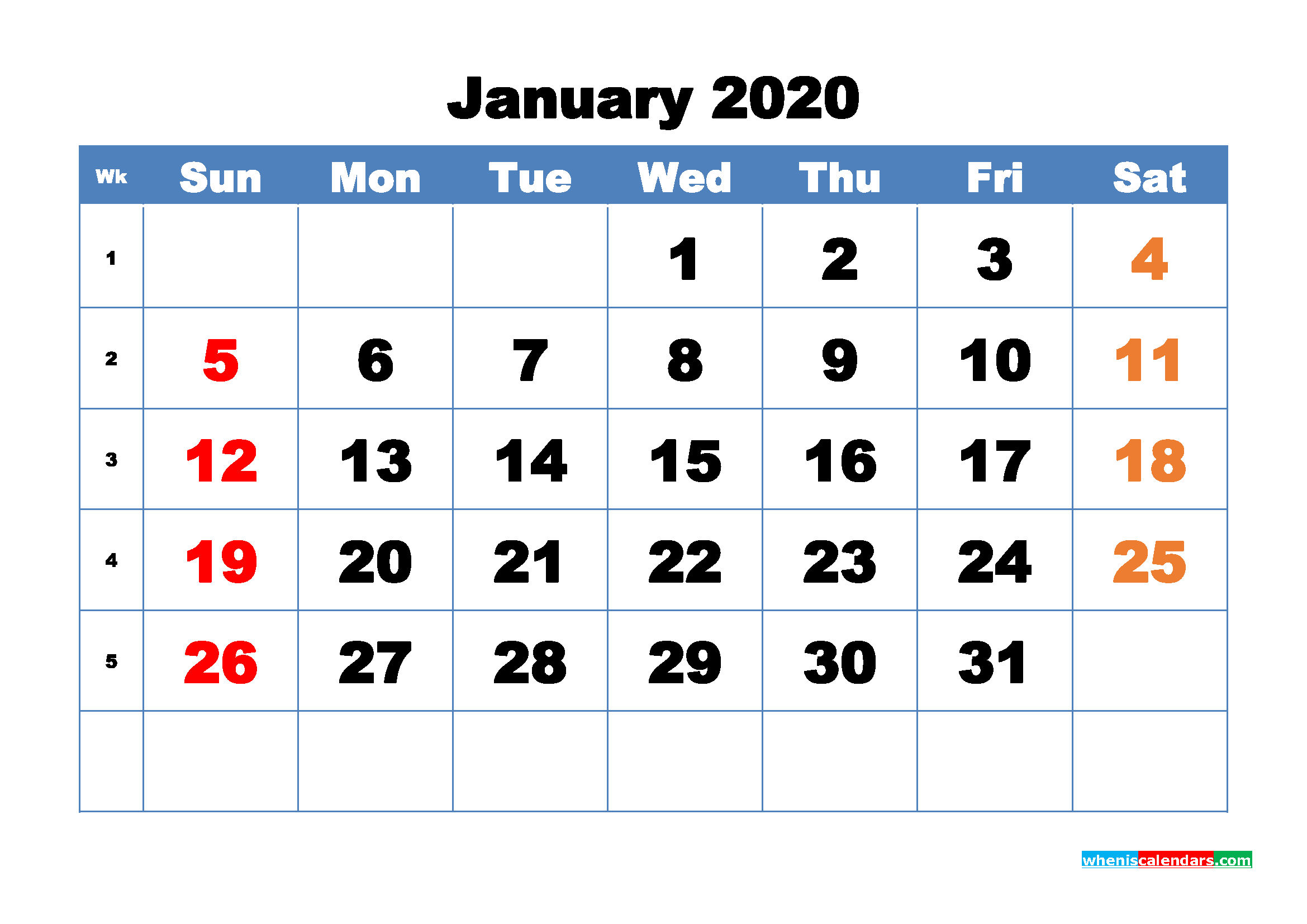 Free Printable January 2020 Calendar - No.m20b313