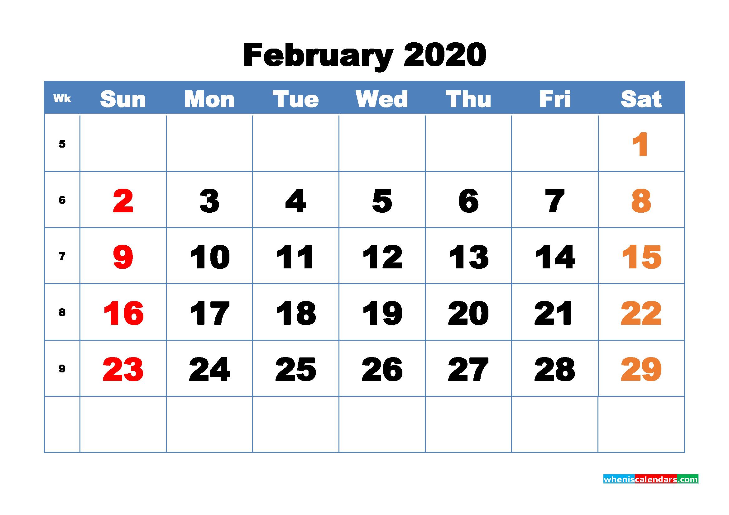 Free Printable February 2020 Calendar - No.m20b314
