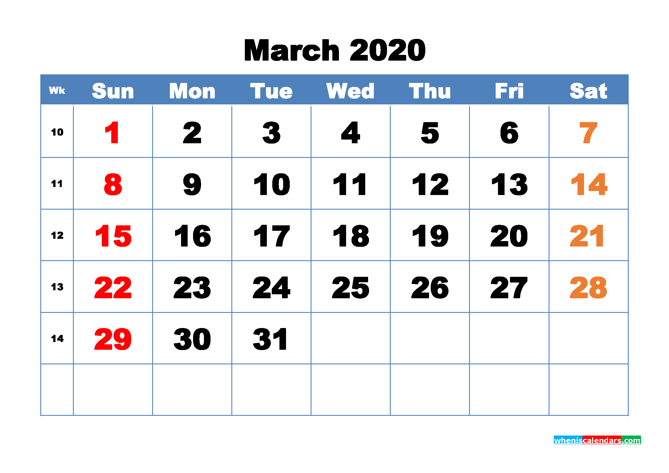 Free Printable March 2020 Calendar - No.m20b315