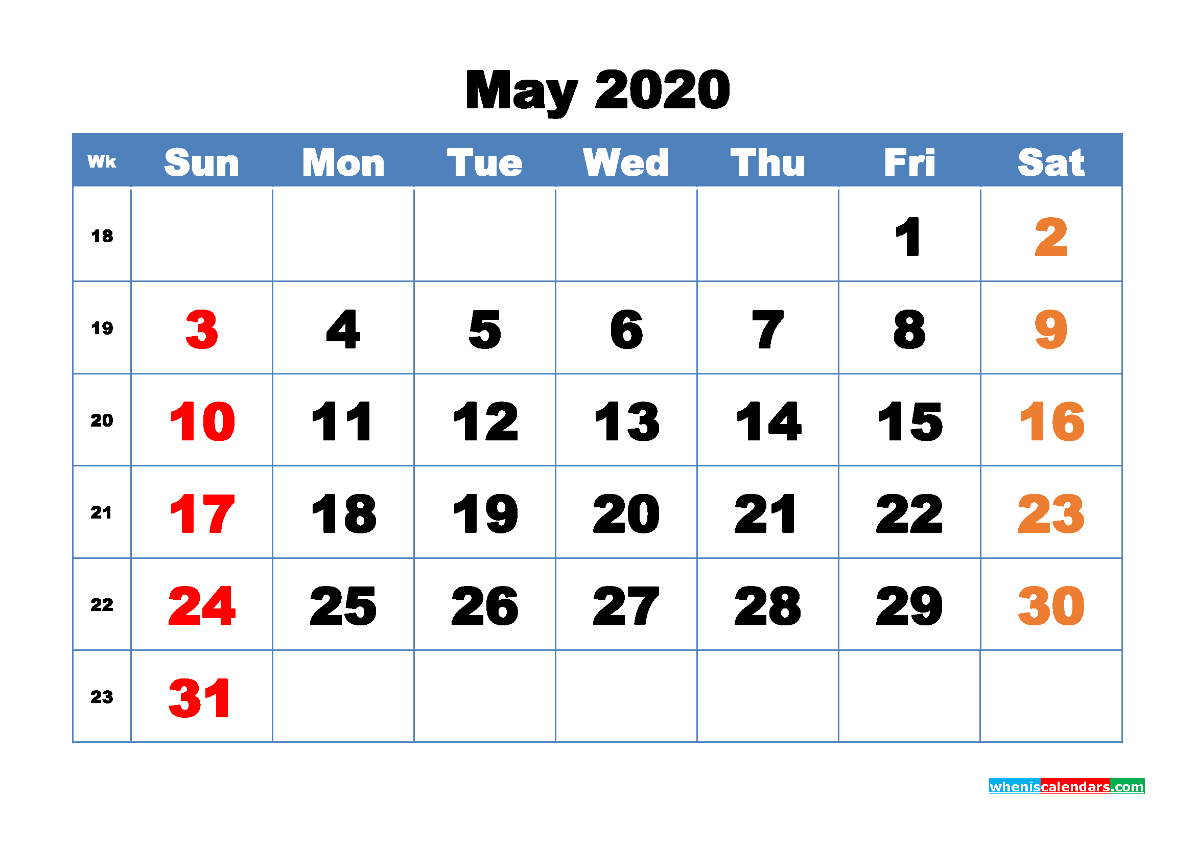 Free Printable May 2020 Calendar - No.m20b317