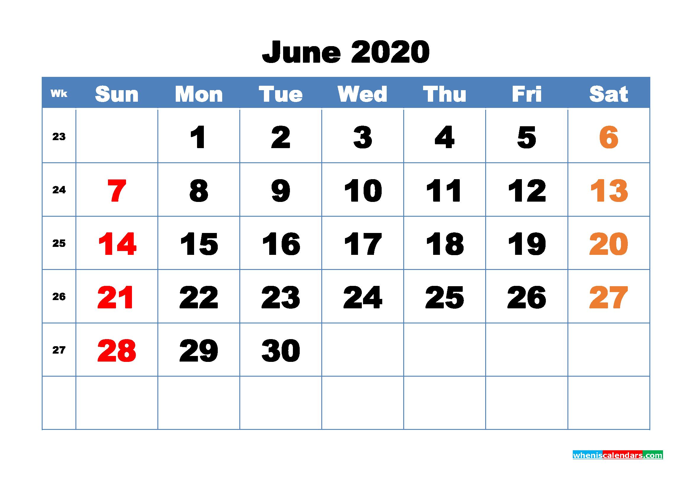 Free Printable June 2020 Calendar - No.m20b318
