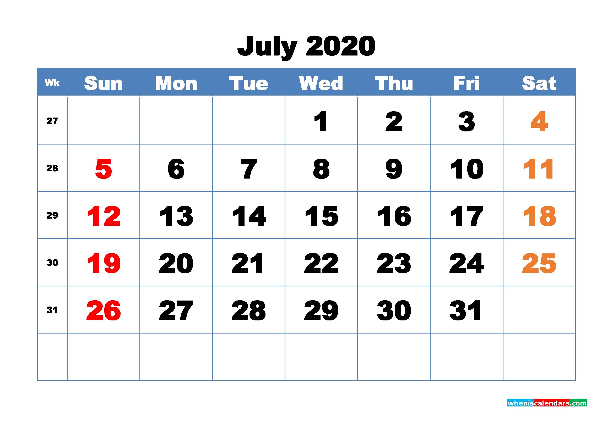 Free Printable July 2020 Calendar - No.m20b319