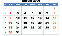 Printable Monthly Calendar 2020 August with Week Numbers