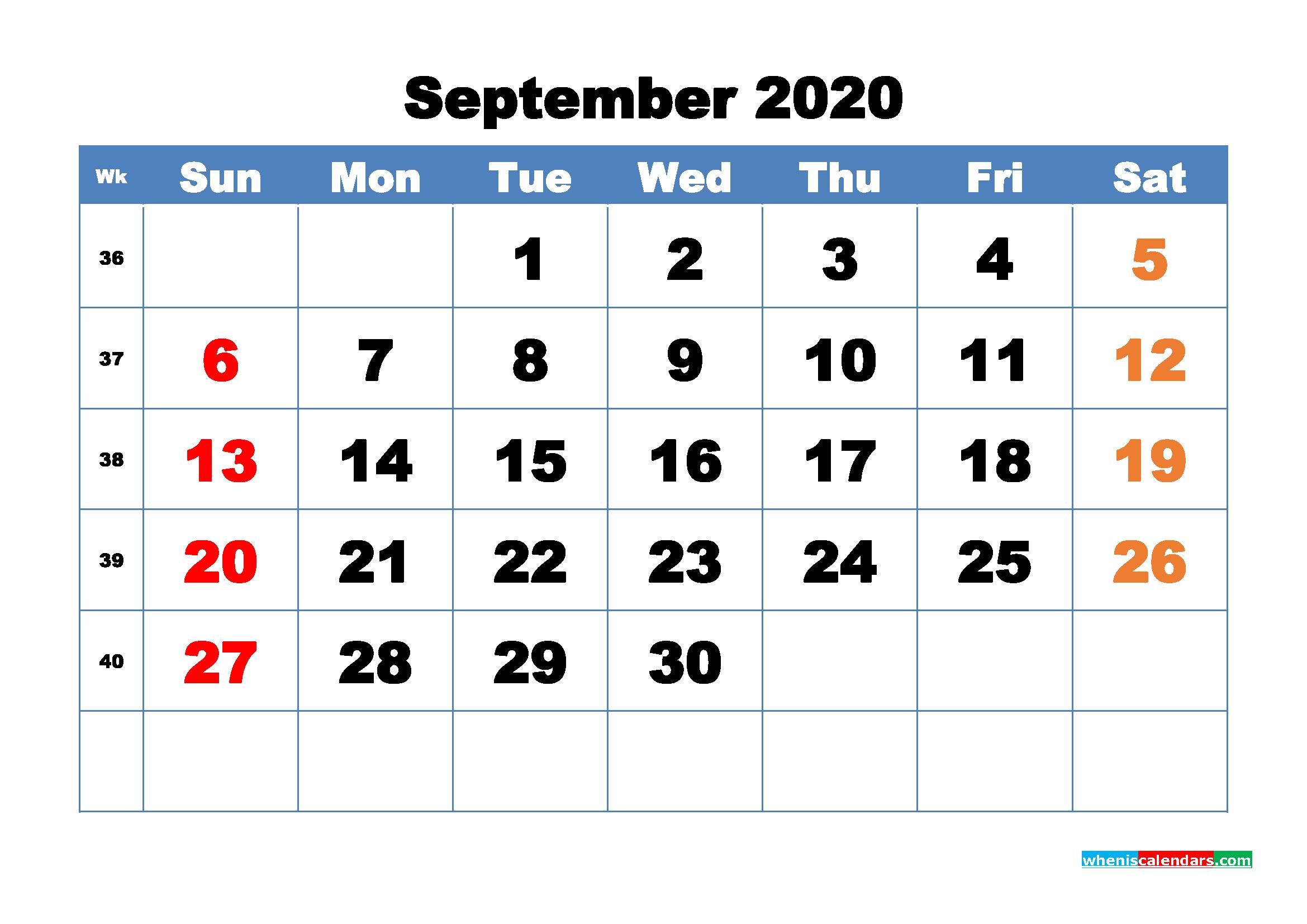 Free Printable September 2020 Calendar - No.m20b321