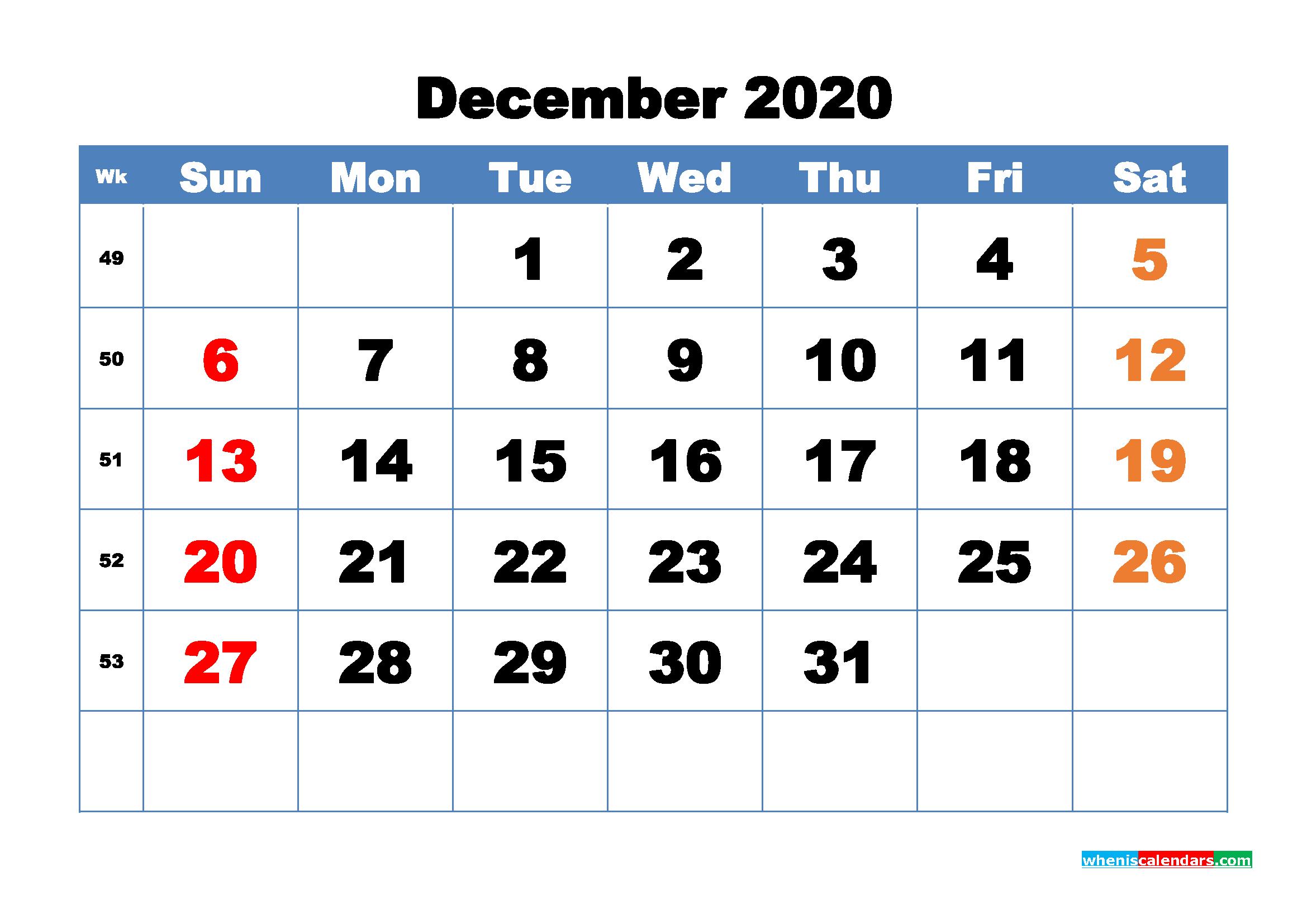 Free Printable December 2020 Calendar - No.m20b324