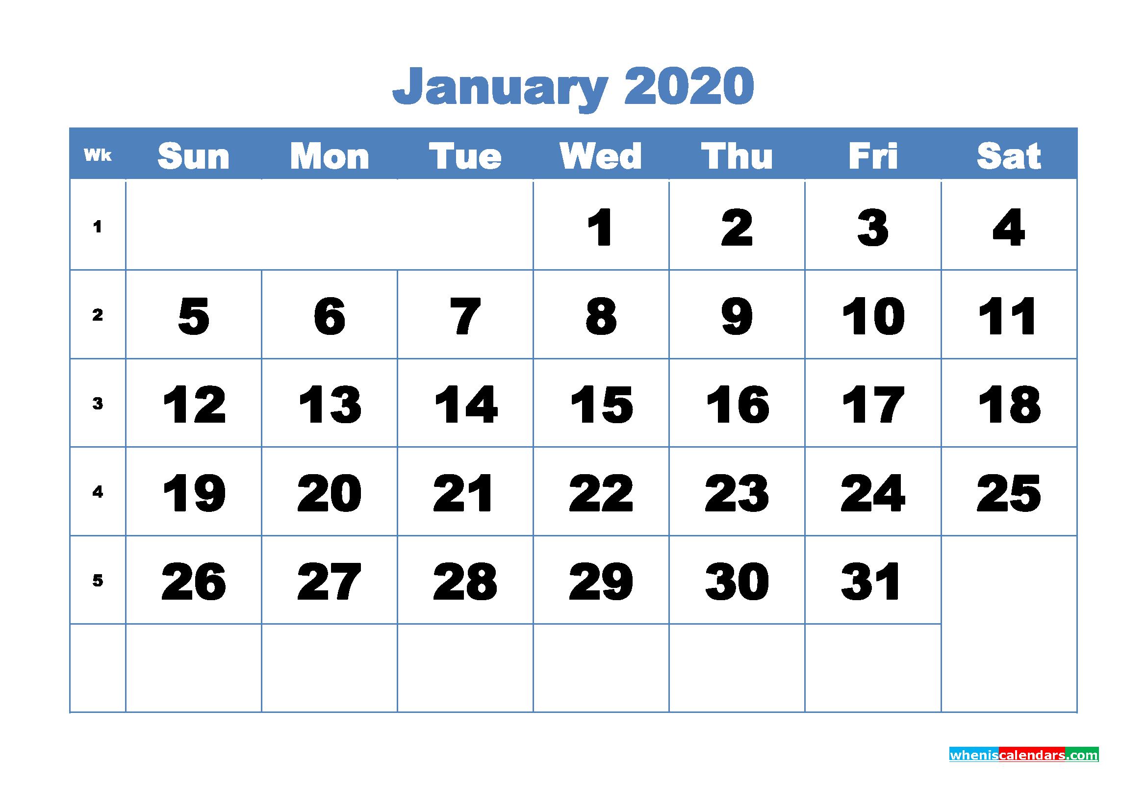 January Printable Calendar 2020 PDF, Word - No.m20b301