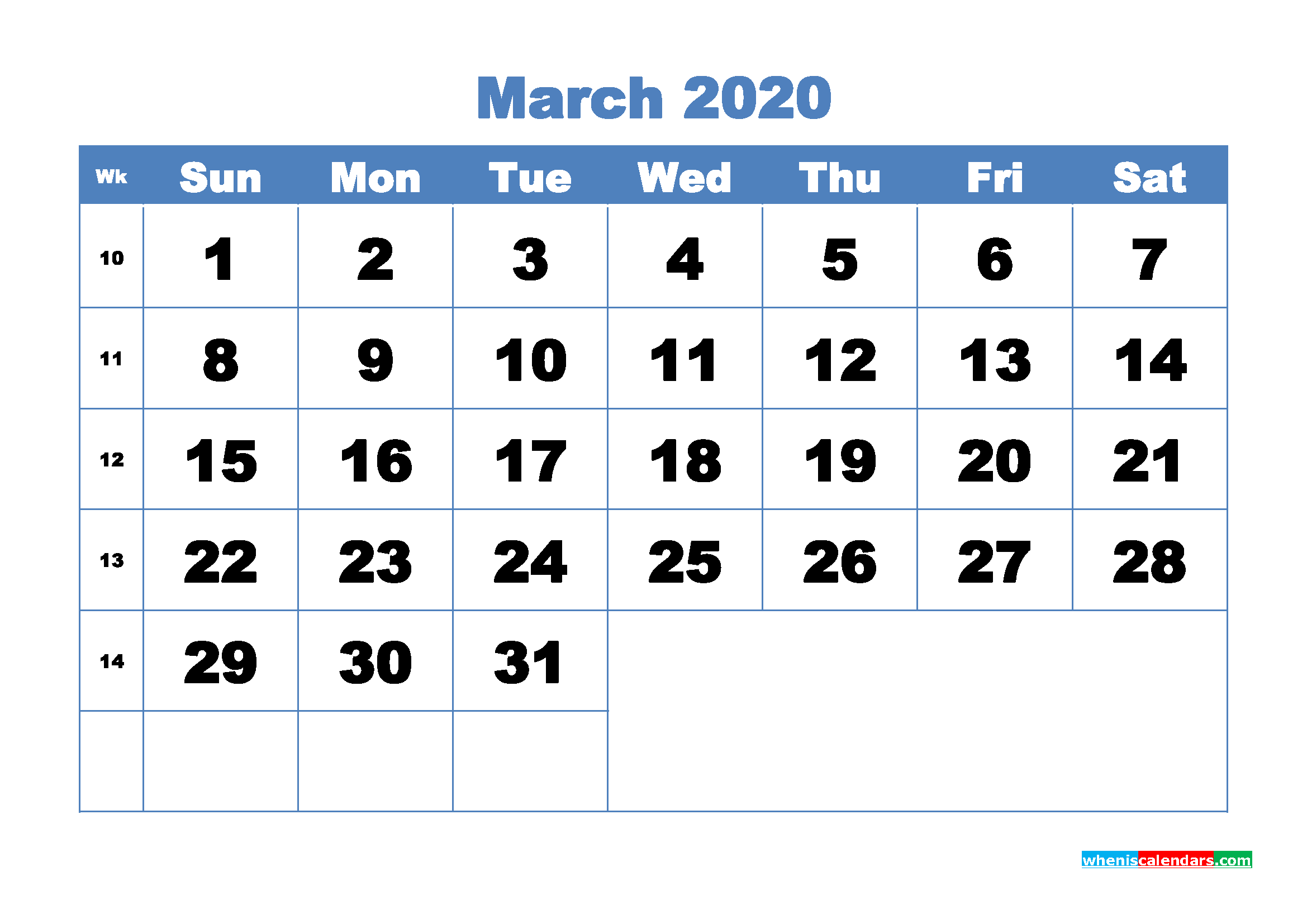 March Printable Calendar 2020 PDF, Word - No.m20b303