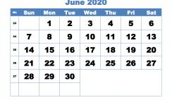 June 2020 Monthly Calendar Template Word