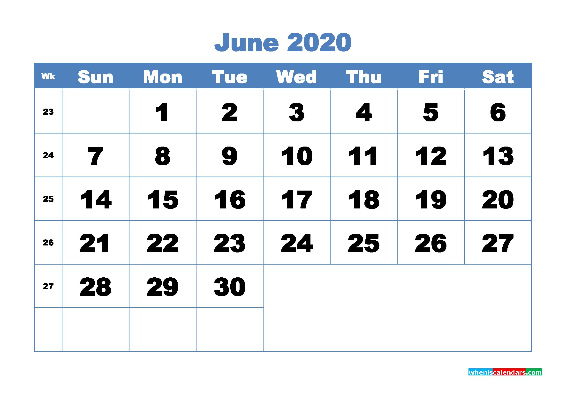 June Printable Calendar 2020 PDF, Word - No.m20b306