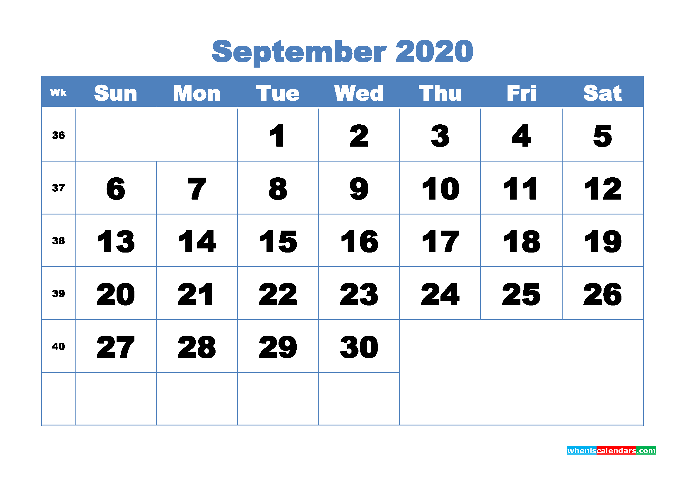 September Printable Calendar 2020 PDF, Word - No.m20b309