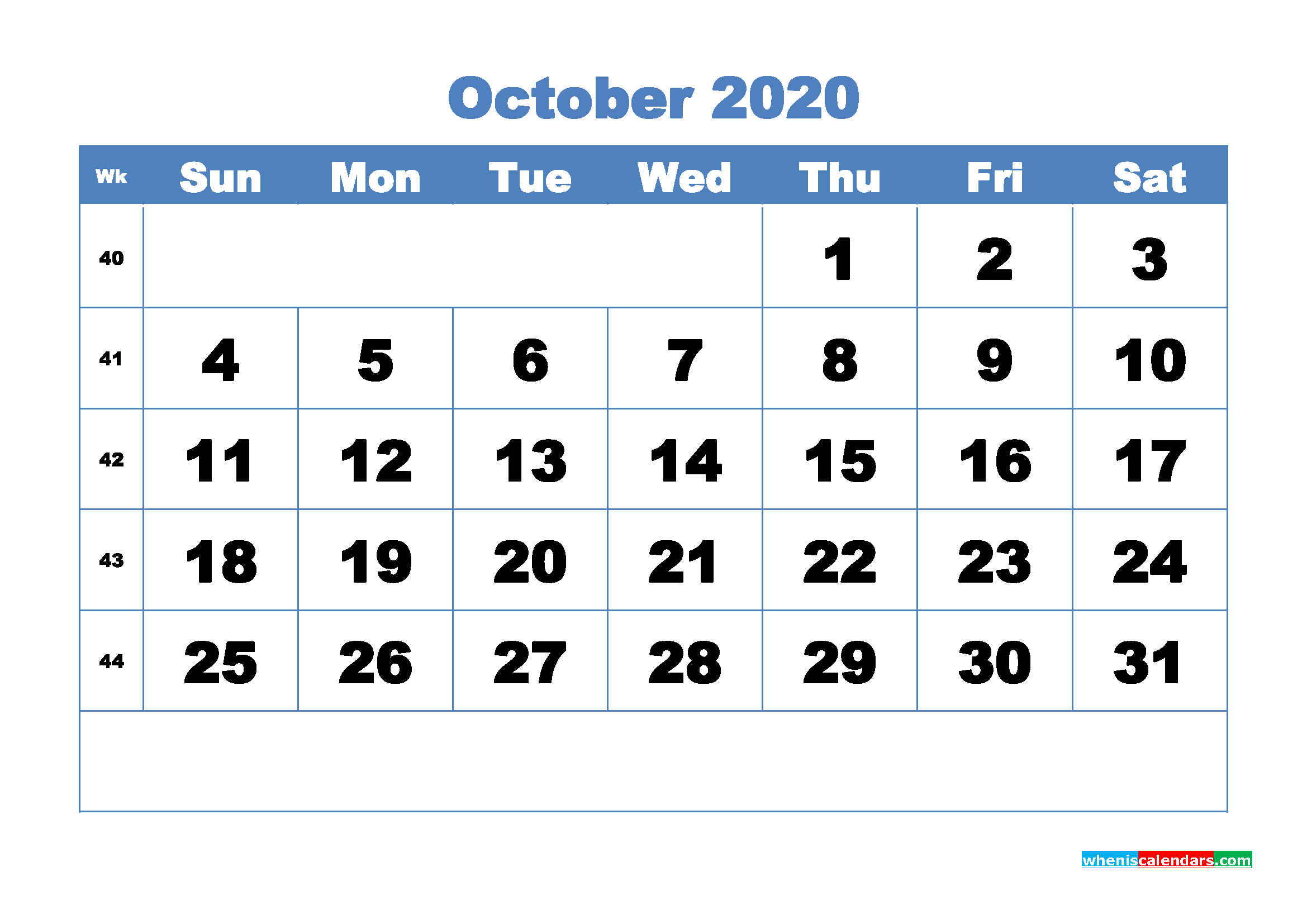 October Printable Calendar 2020 PDF, Word - No.m20b310