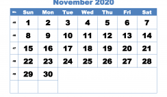 November Printable Calendar 2020 PDF