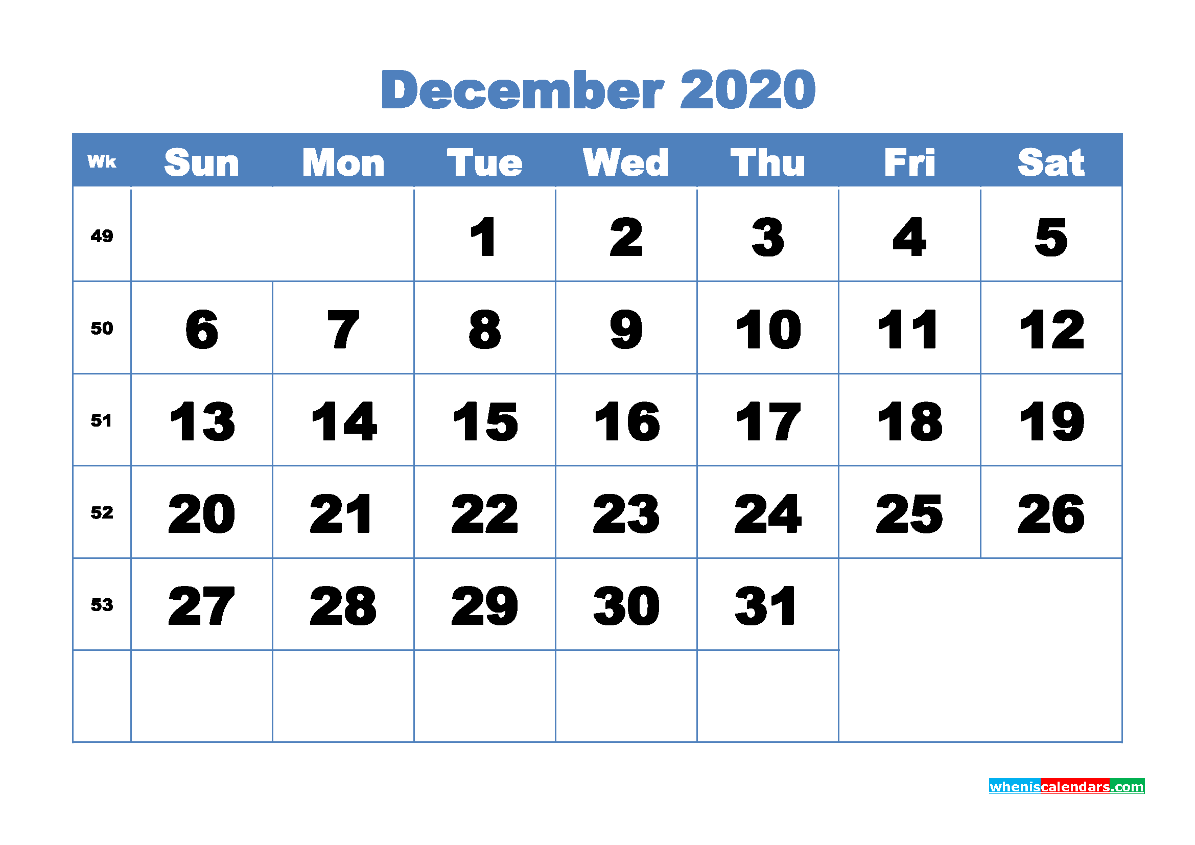 December Printable Calendar 2020 PDF, Word - No.m20b312