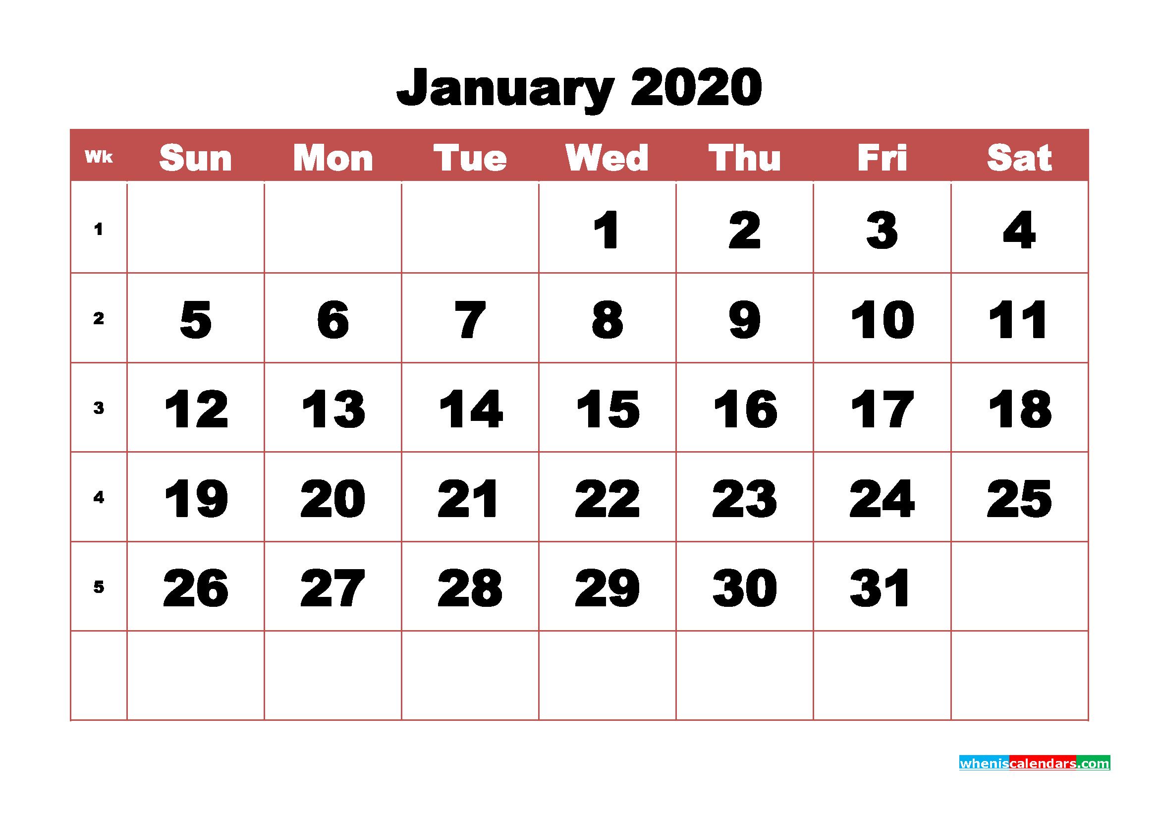 Blank January 2020 Calendar Printable - No.m20b337