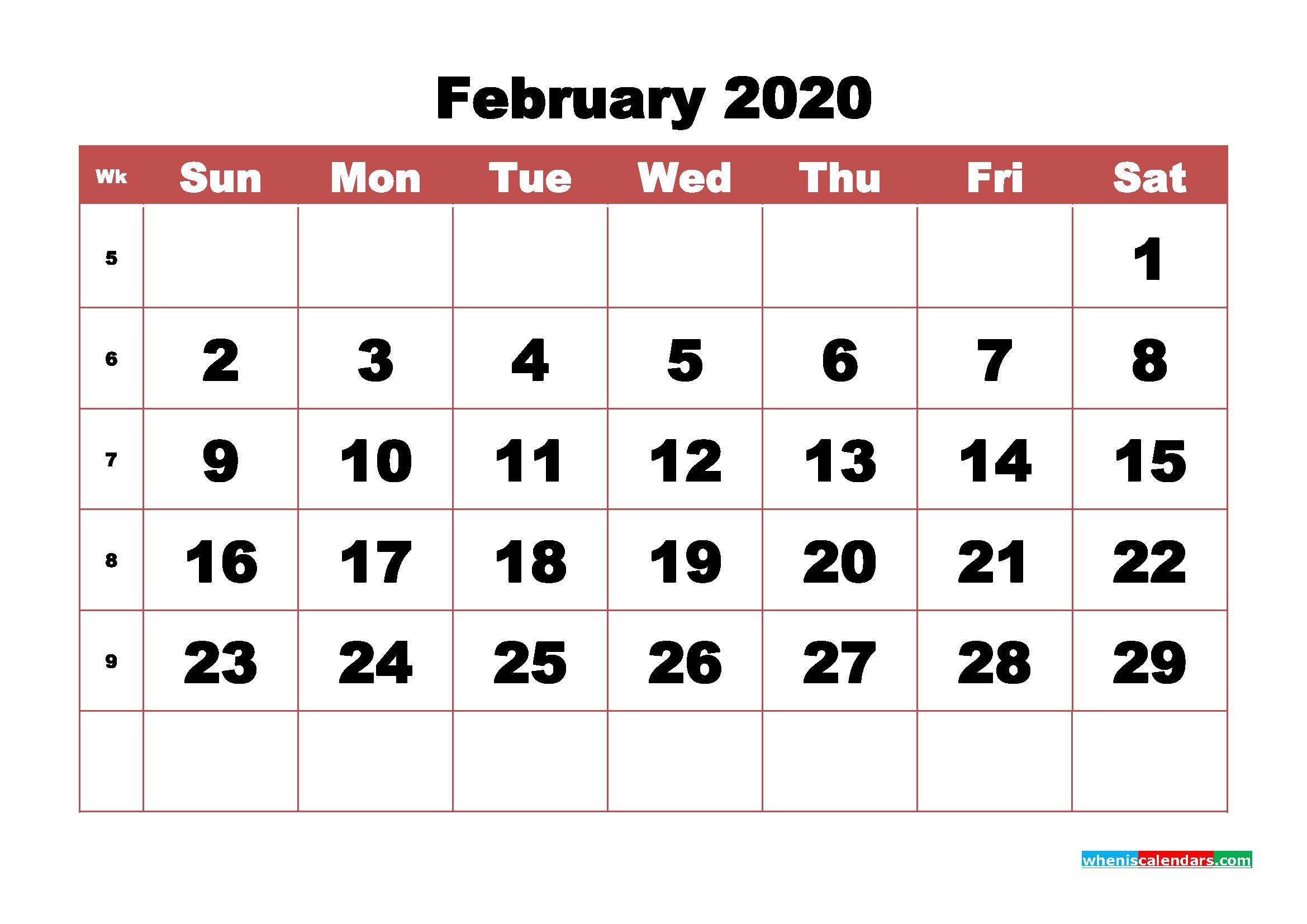 Blank February 2020 Calendar Printable - No.m20b338