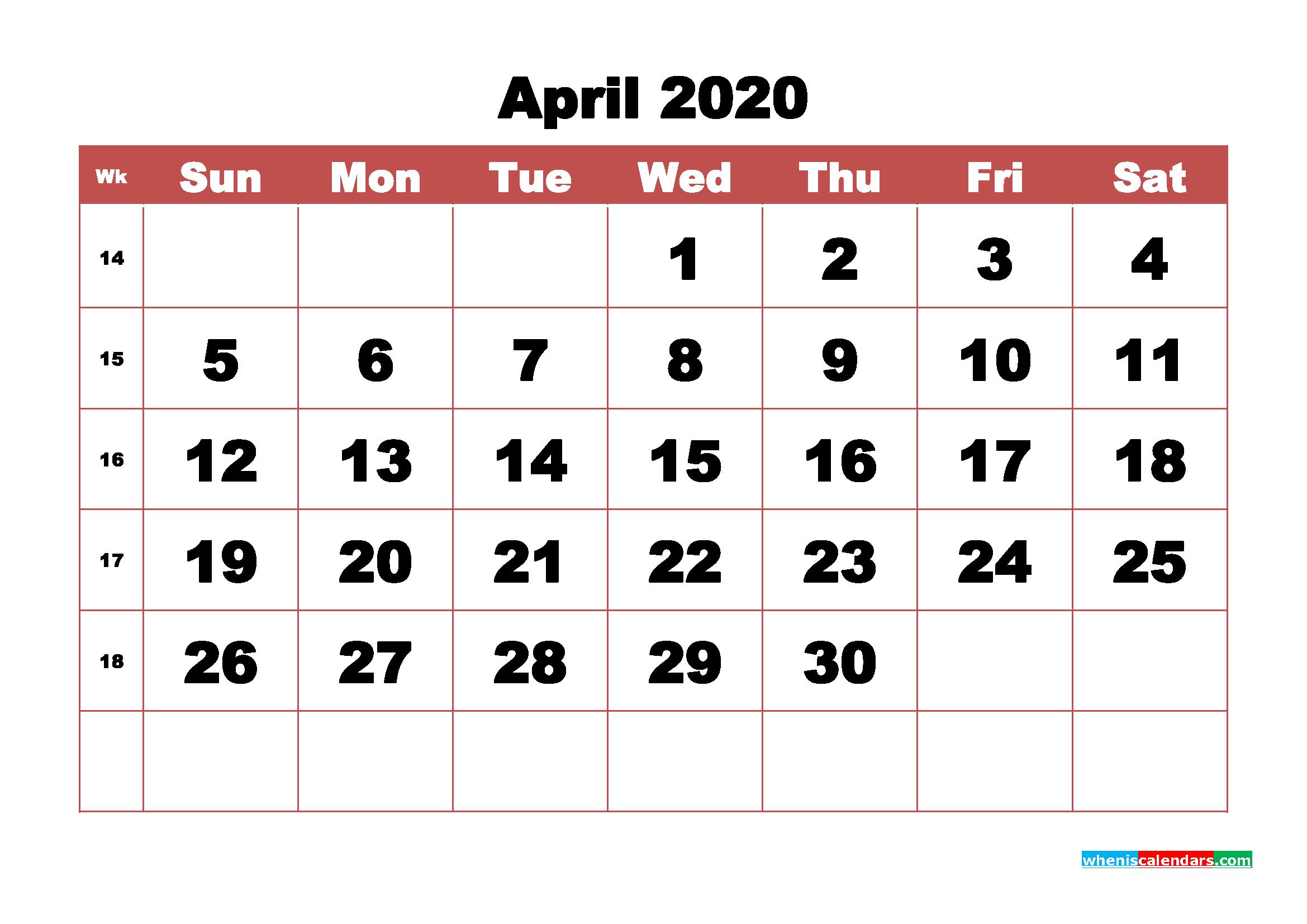 Blank April 2020 Calendar Printable - No.m20b340
