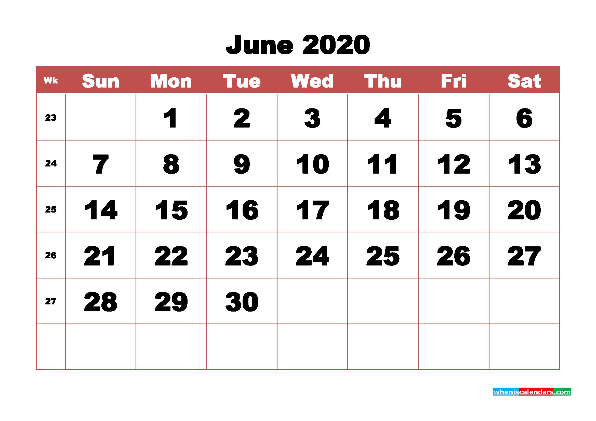 Blank June 2020 Calendar Printable - No.m20b342
