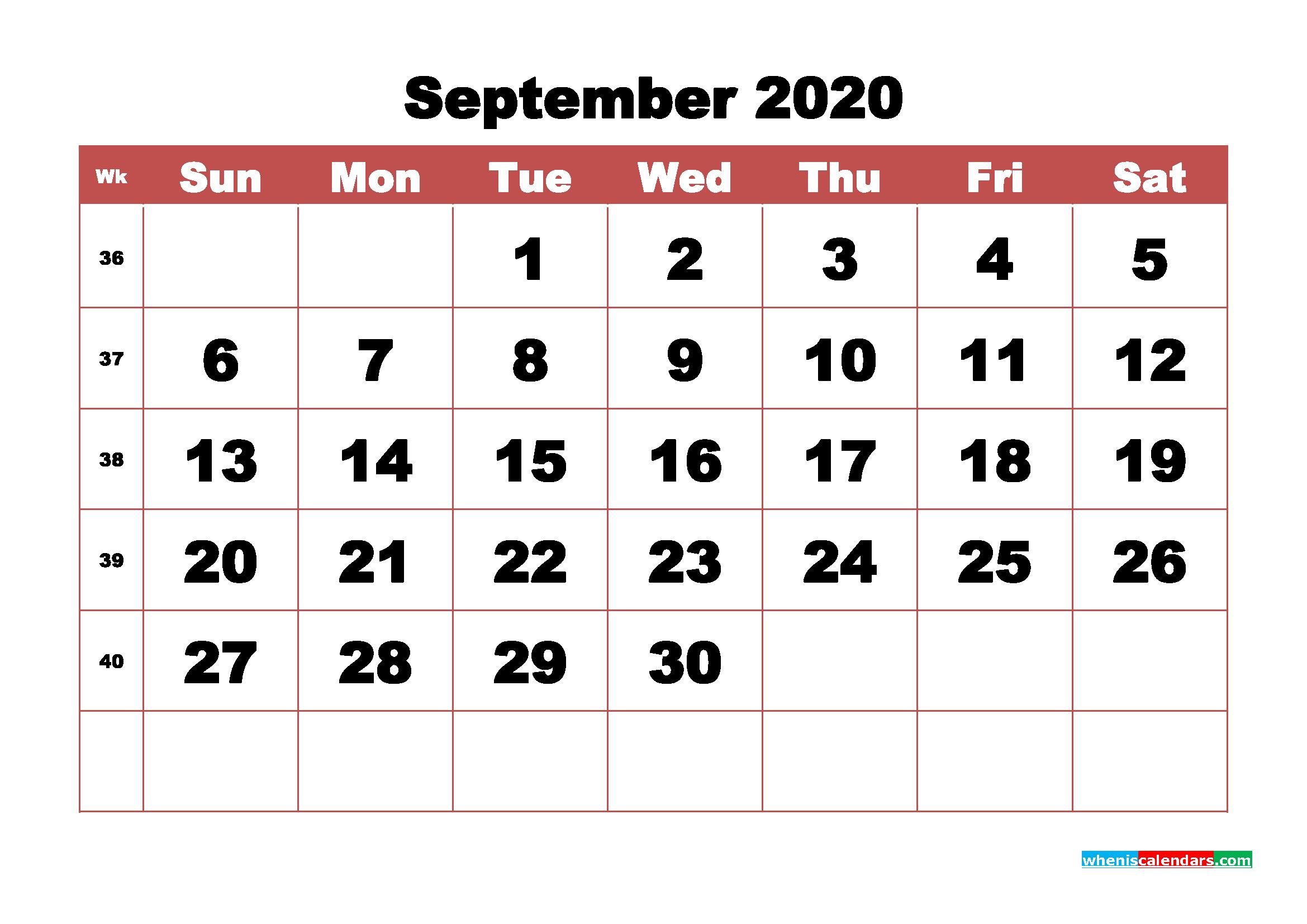 Blank September 2020 Calendar Printable - No.m20b345