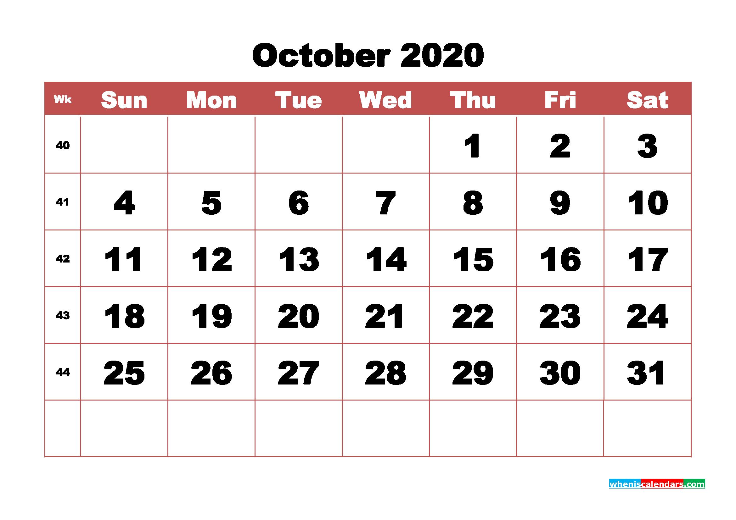 Blank October 2020 Calendar Printable - No.m20b346