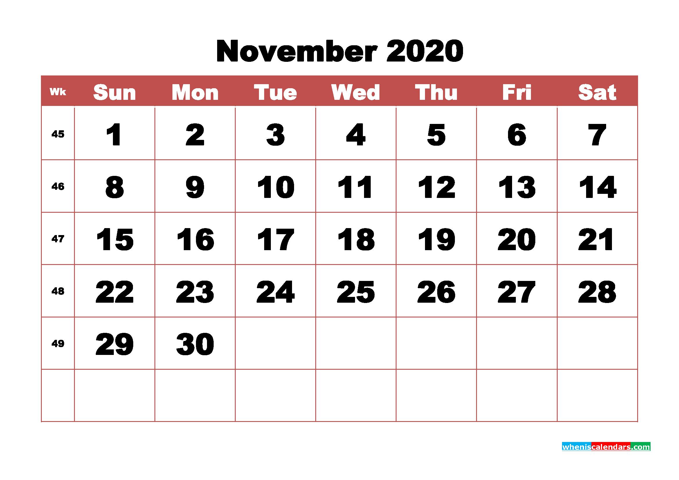 Blank November 2020 Calendar Printable - No.m20b347
