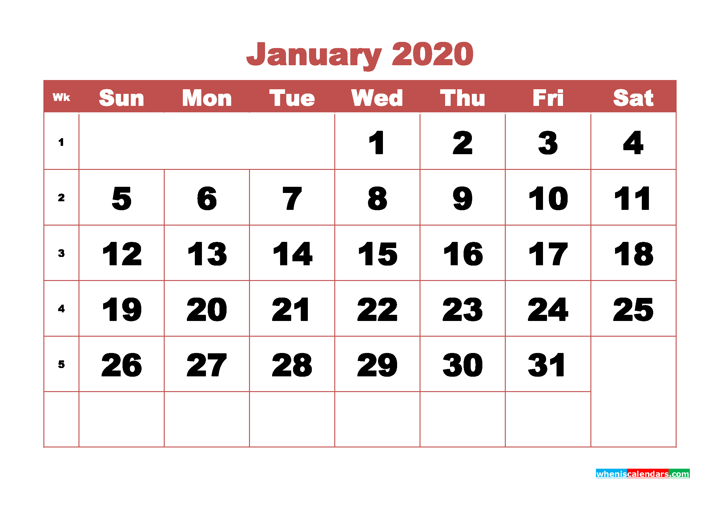 January 2020 Monthly Calendar Template Word
