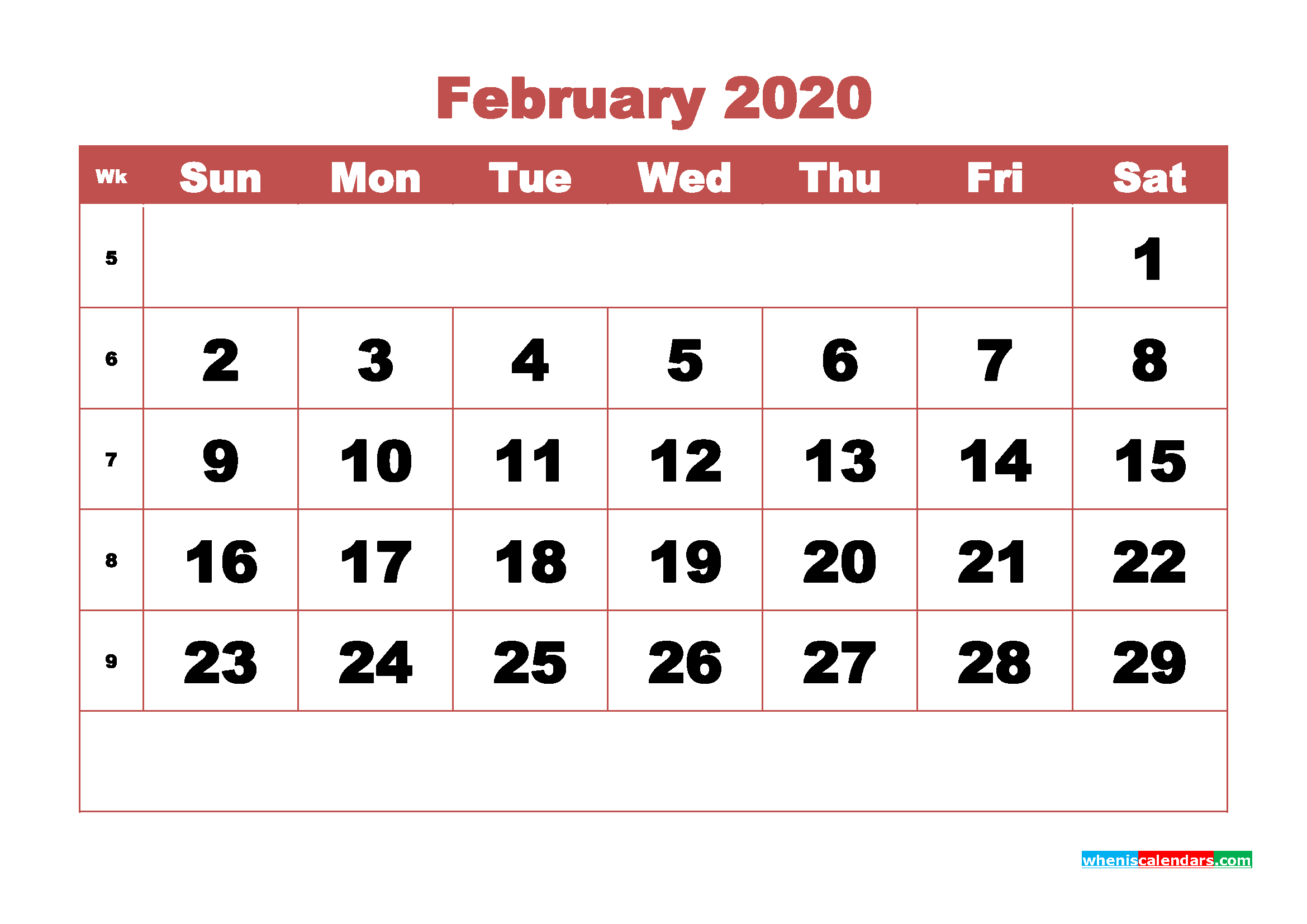 Free Blank Calendar February 2020 Printable - No.m20b326