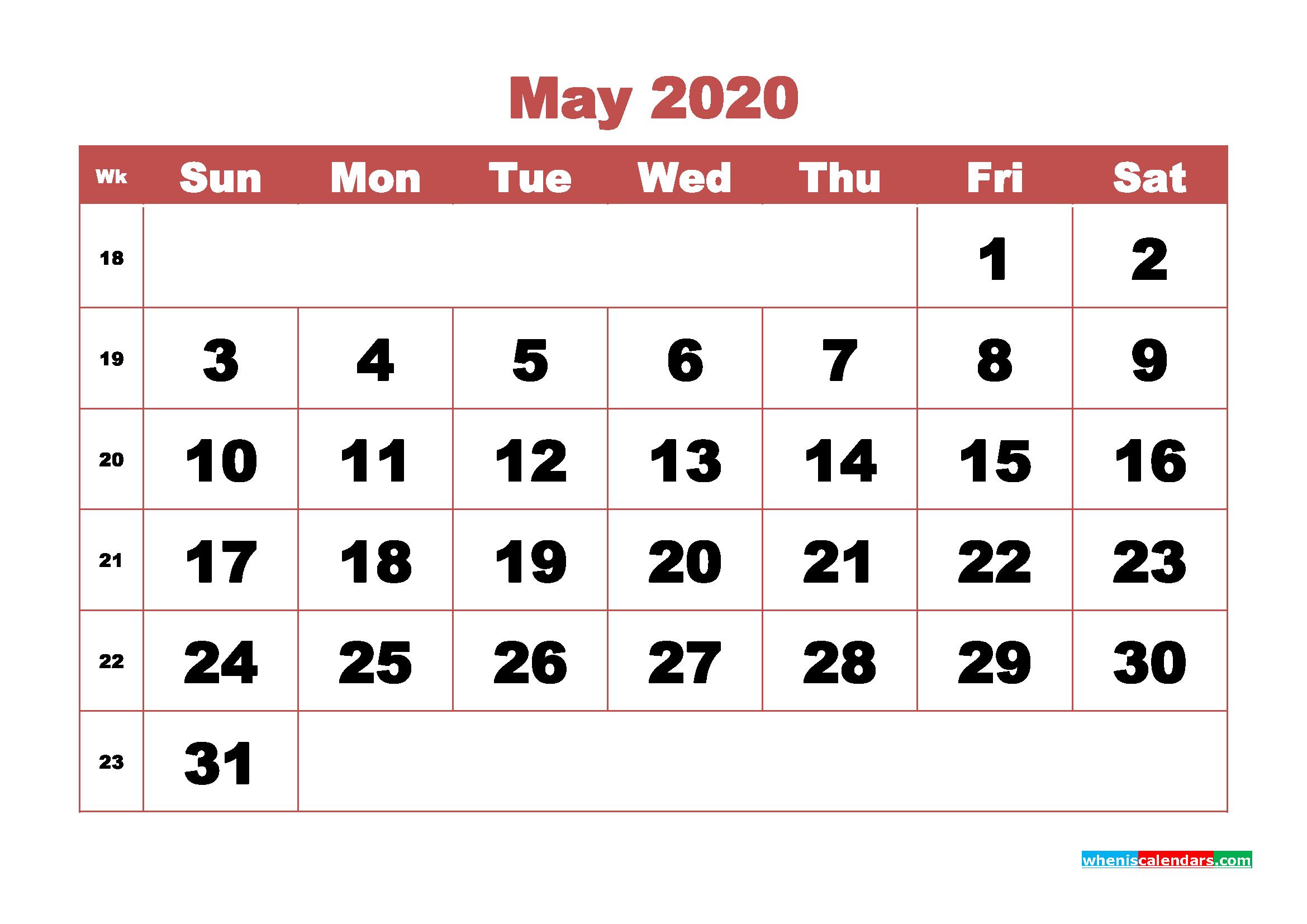 Free Blank Calendar May 2020 Printable - No.m20b329