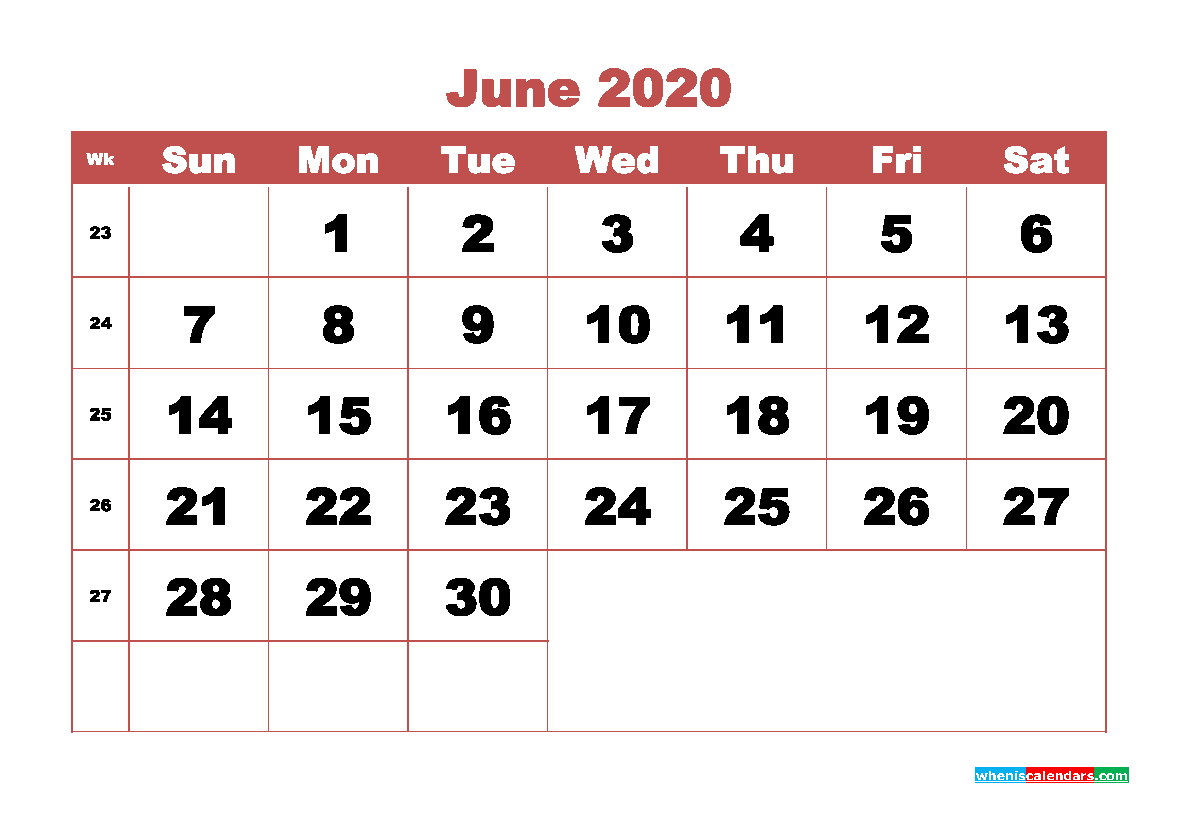 June 2020 Monthly Calendar Template Word