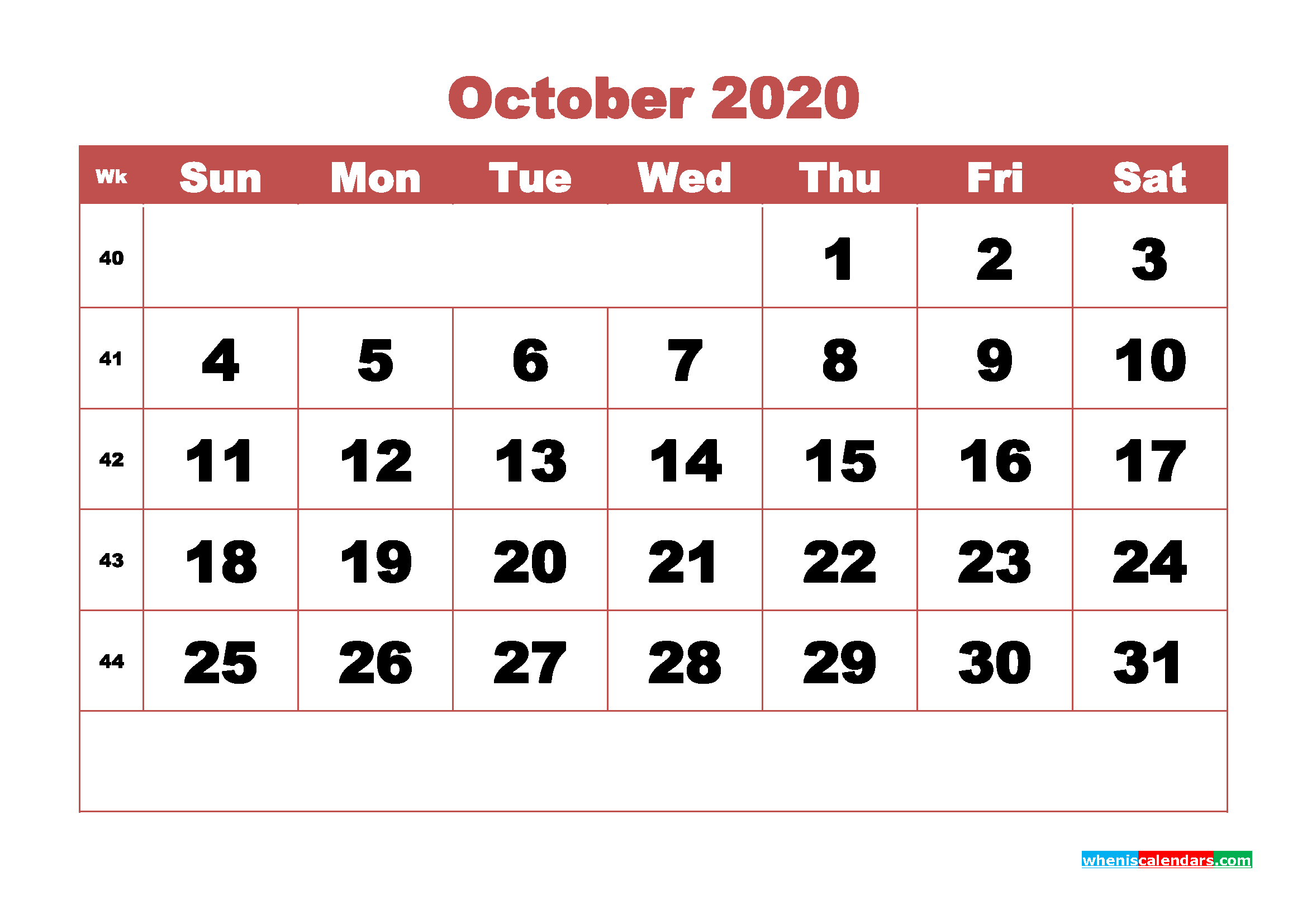 Free Blank Calendar October 2020 Printable - No.m20b334